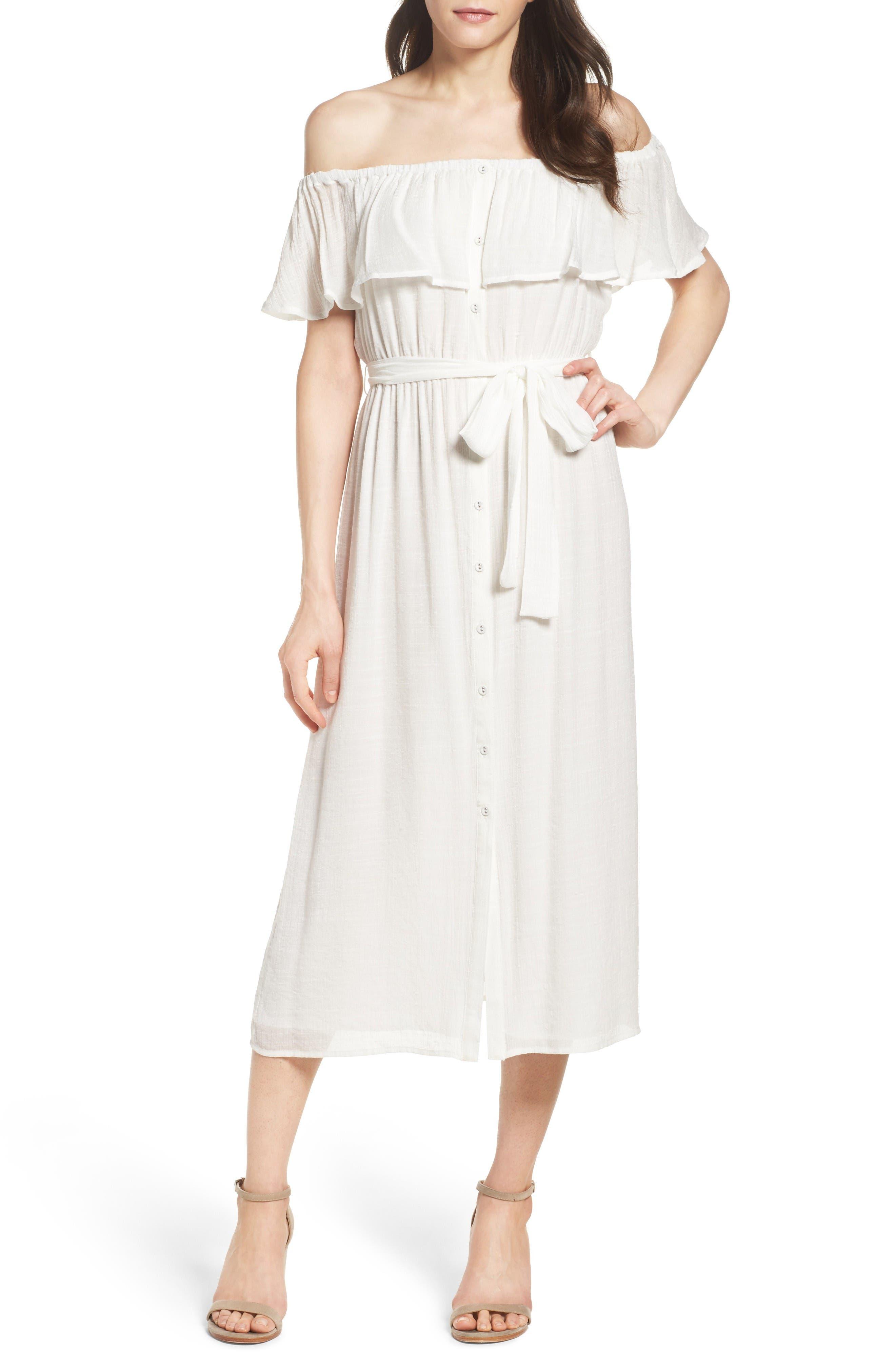 Marina Ruffle Off the Shoulder Midi Dress,                         Main,                         color, Ivory