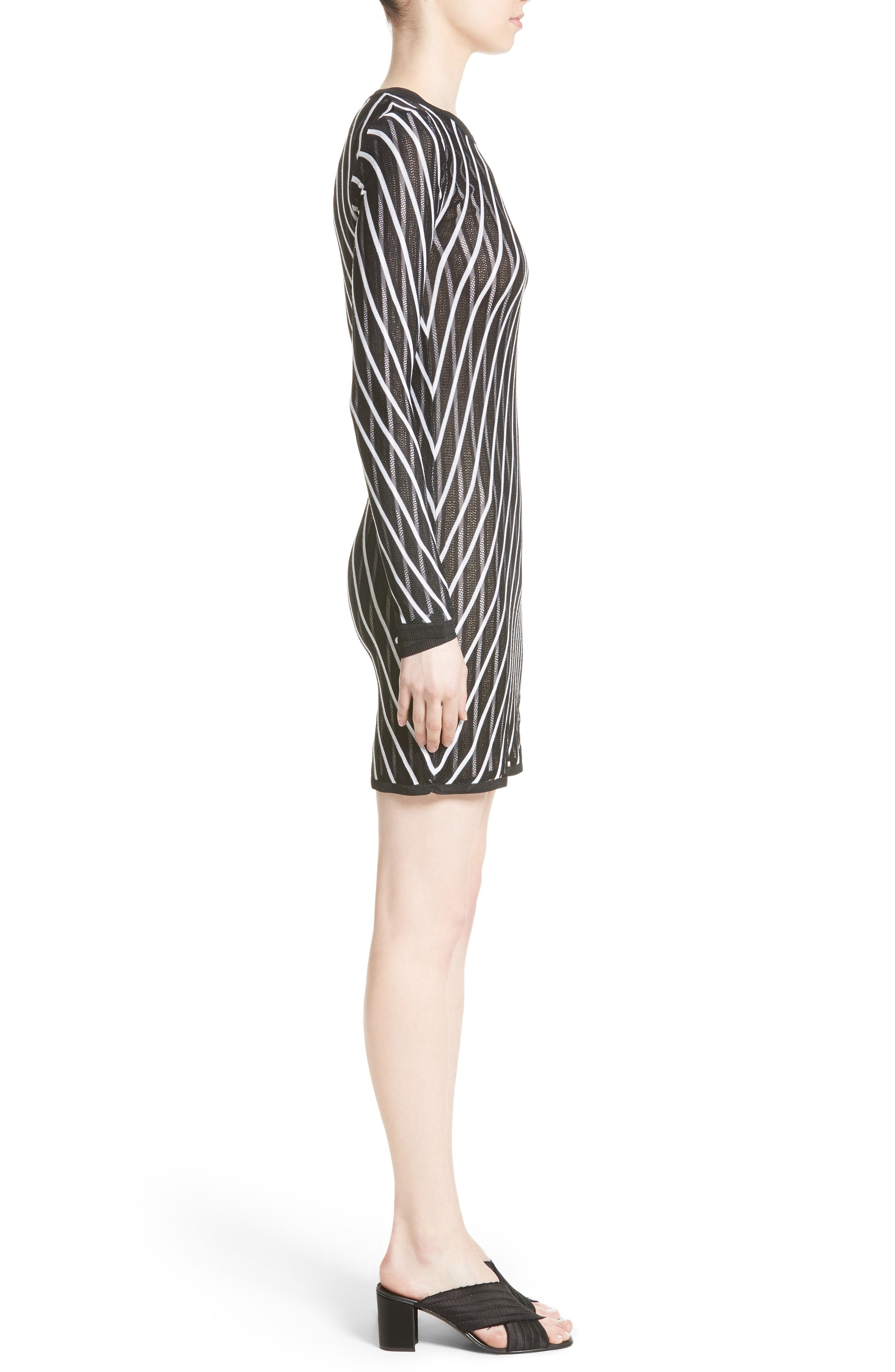 Double Layer Stripe Sweater Dress,                             Alternate thumbnail 3, color,                             Ivory/ Black