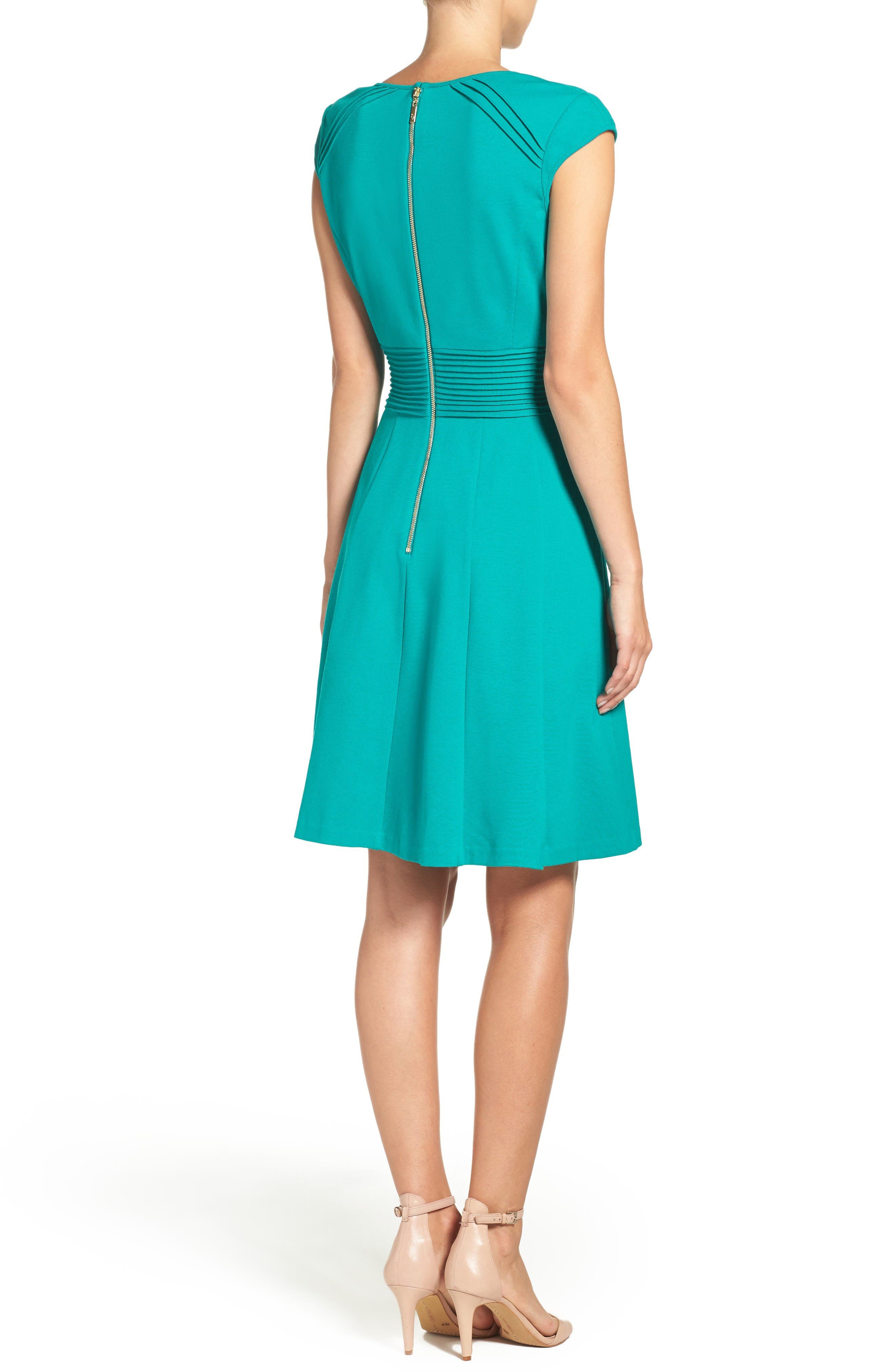 Ponte Fit & Flare Dress,                             Alternate thumbnail 2, color,                             Teal