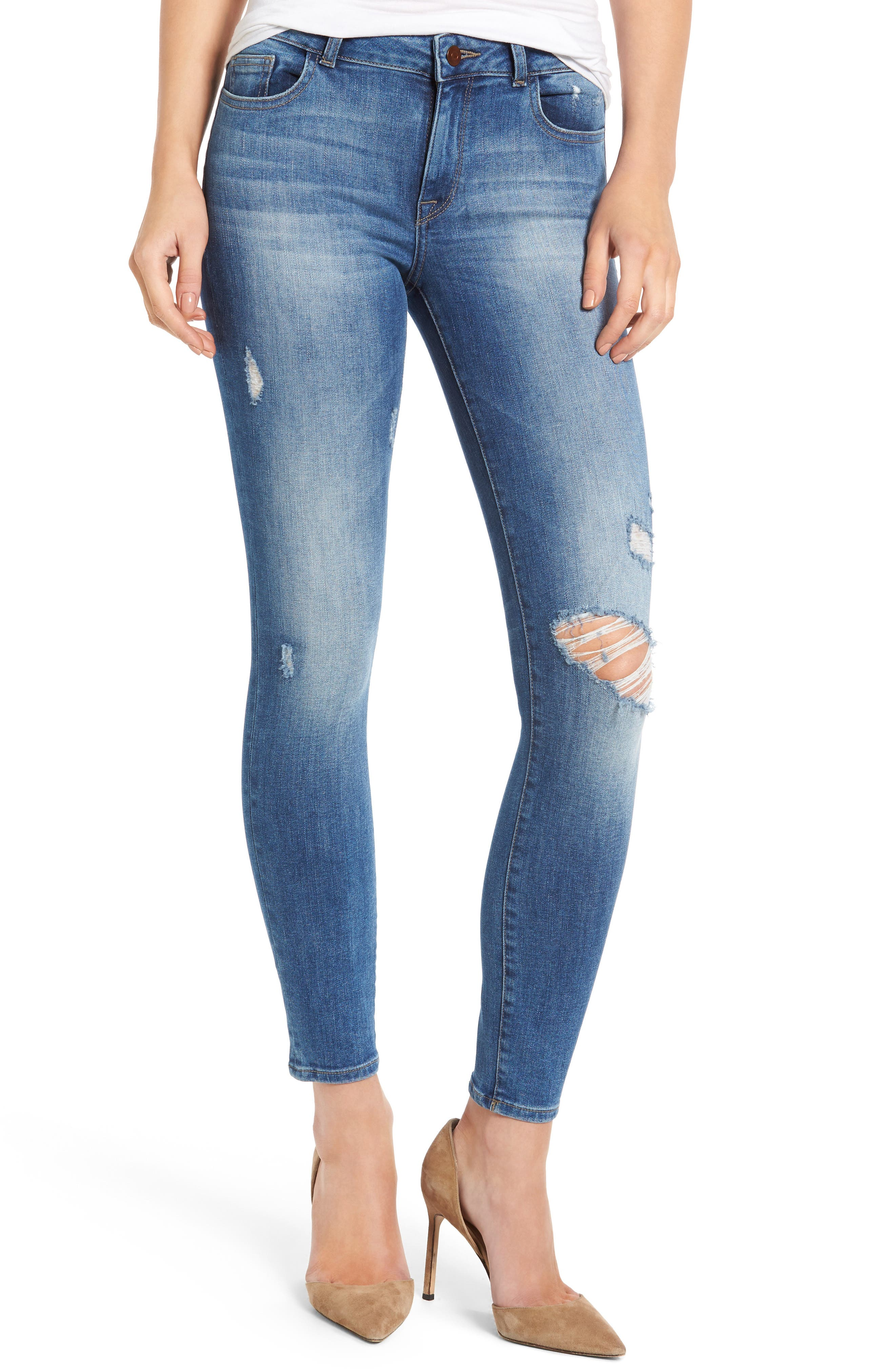 DL1961 Margaux Instasculpt Ripped Ankle Skinny Jeans (Stealth)