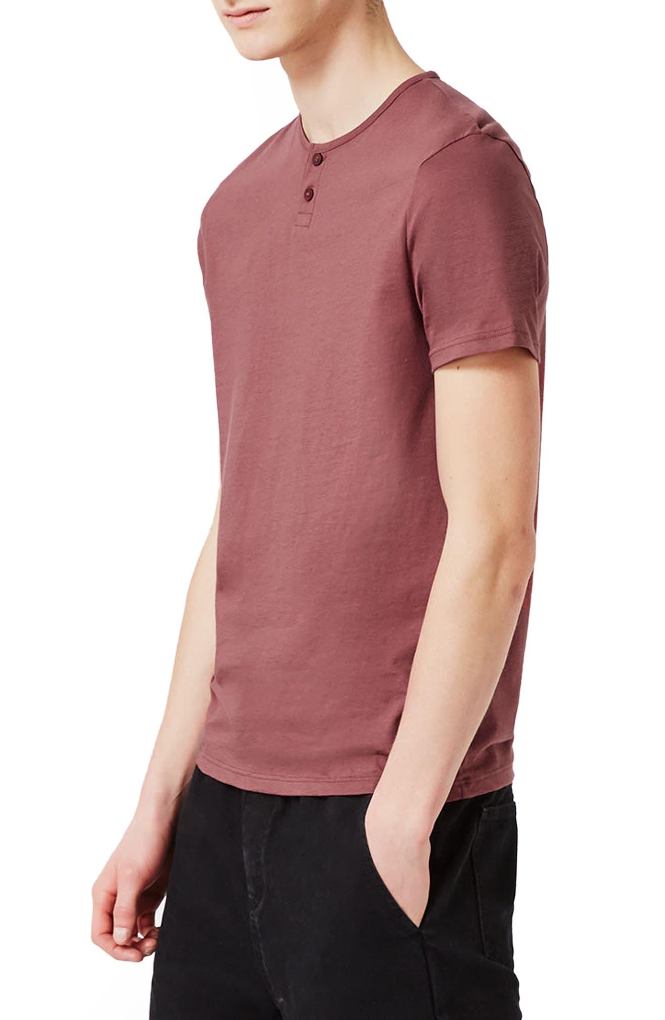 Short Sleeve Henley T-Shirt,                         Main,                         color, Light Red