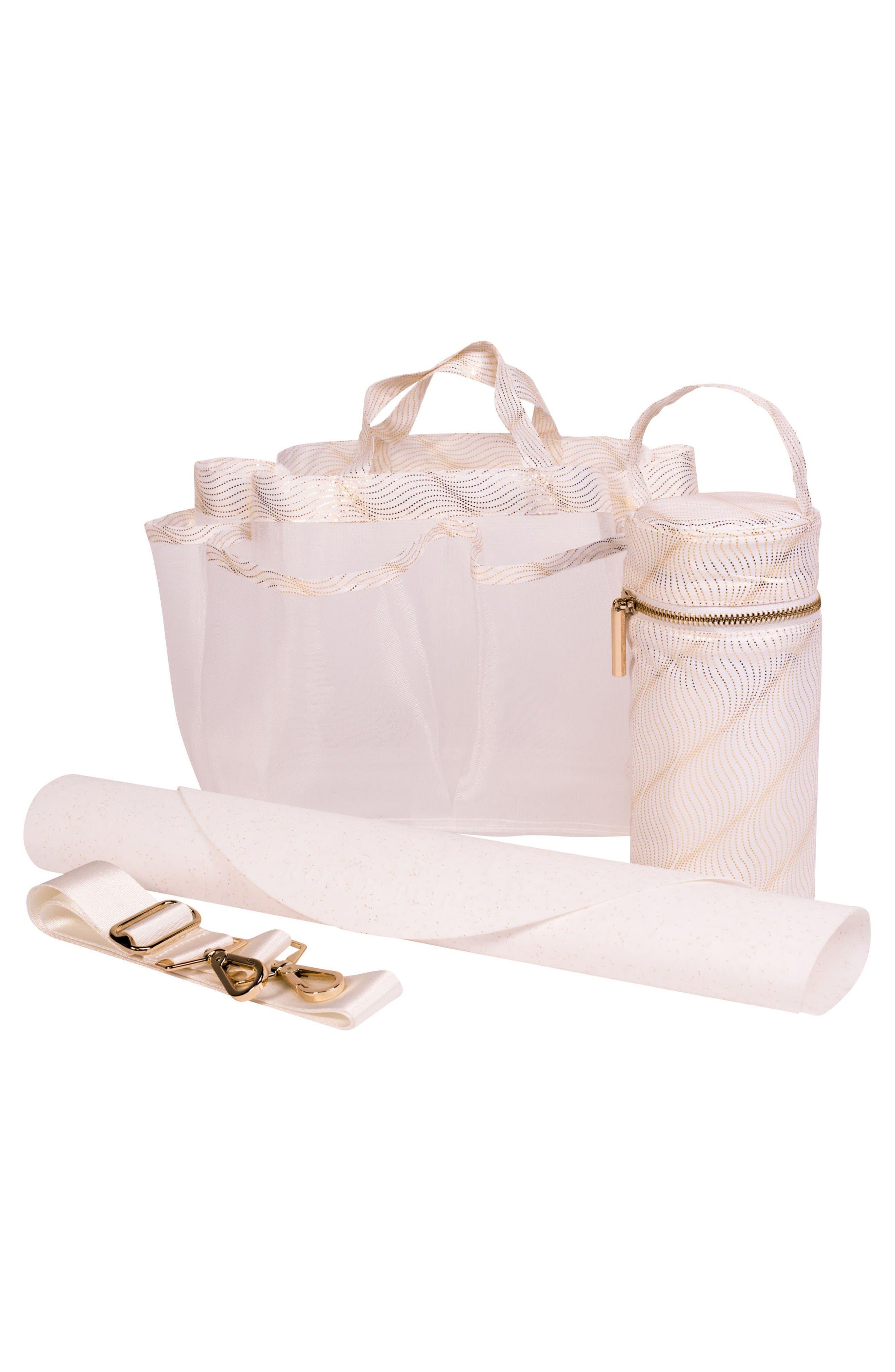 Sloane Diaper Bag,                             Alternate thumbnail 7, color,                             Neutral/ White