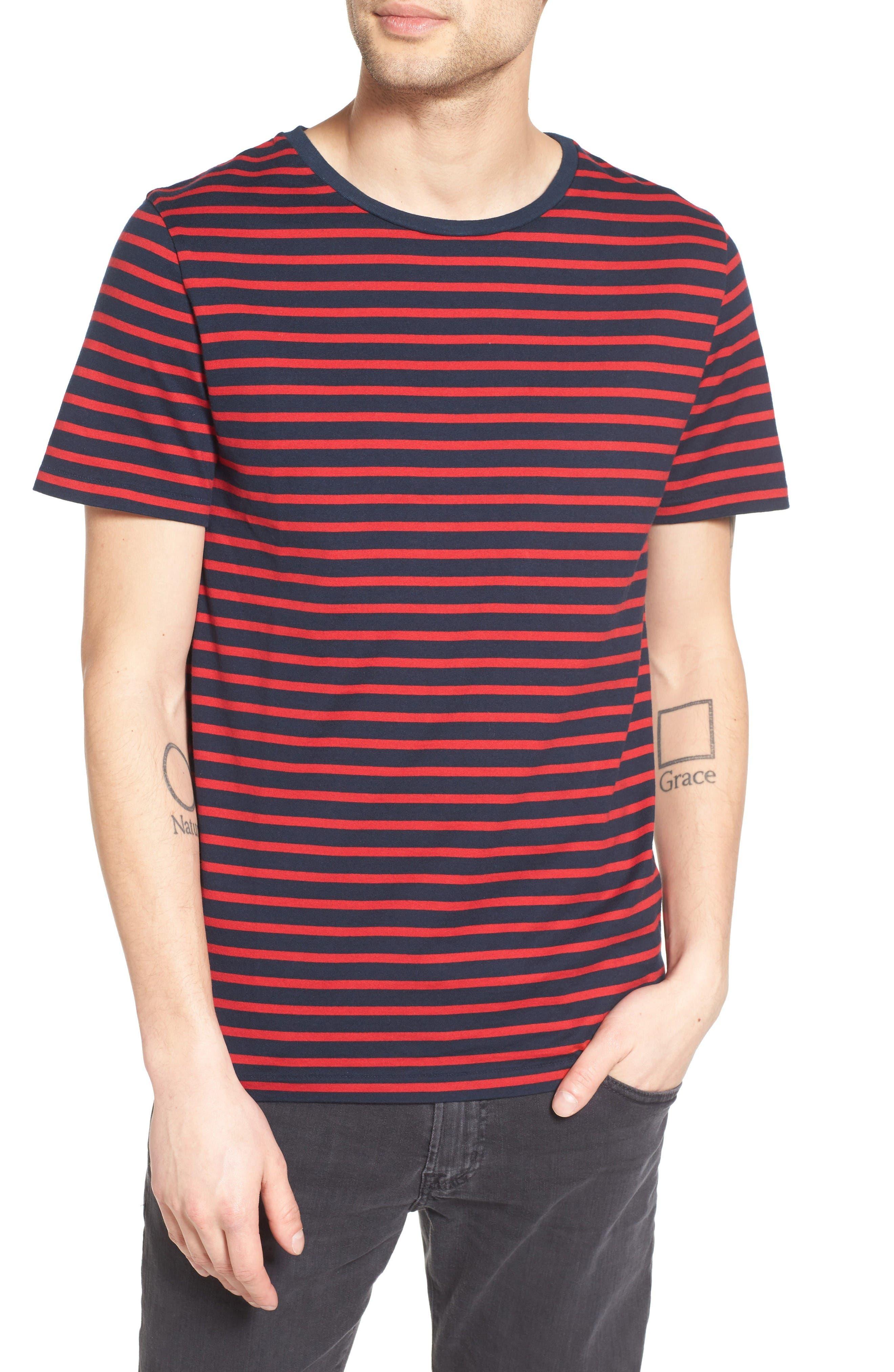 Julian Stripe Crewneck T-Shirt,                         Main,                         color, Night Sea/ Currant