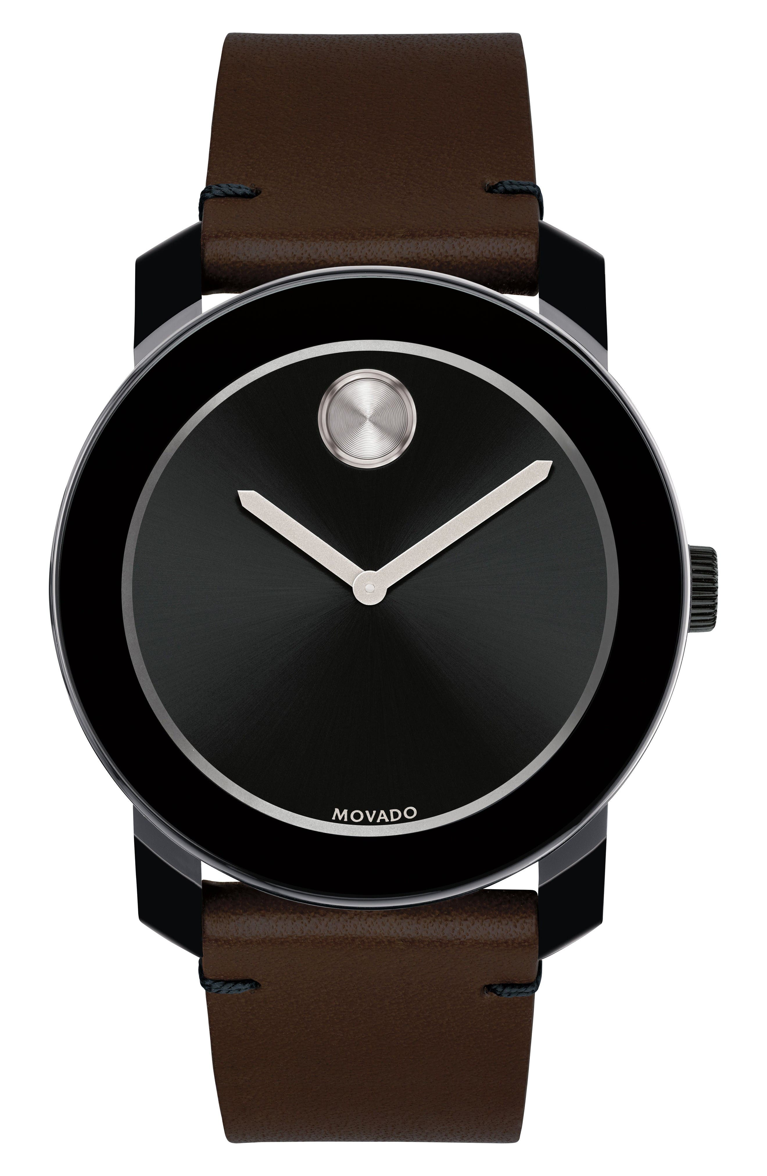 'Bold' Leather Strap Watch, 42mm,                         Main,                         color, Chocolate Brown/ Black