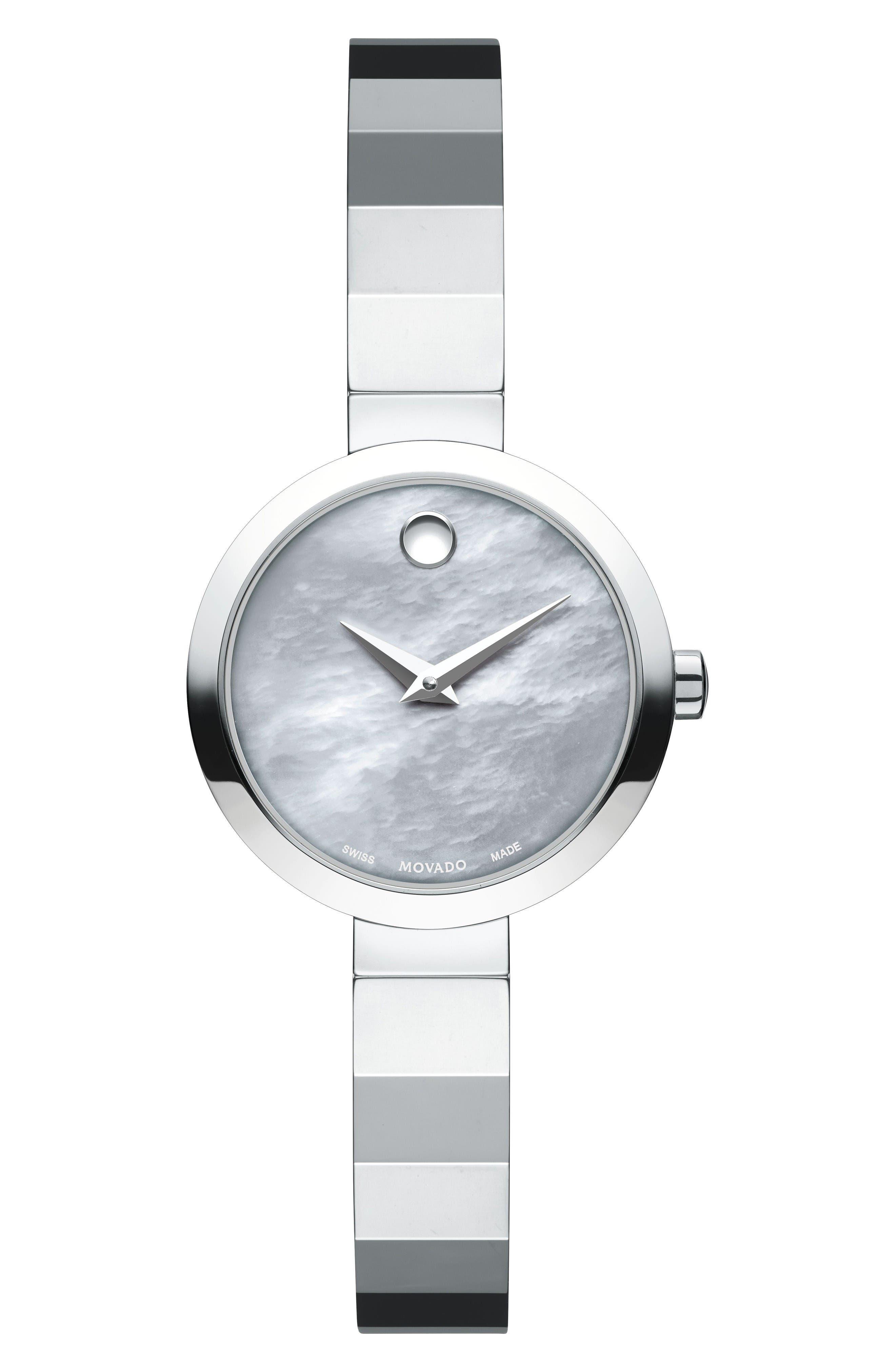Novella Bangle Watch, 24mm,                             Main thumbnail 1, color,                             Silver/ Grey Mop/ Silver