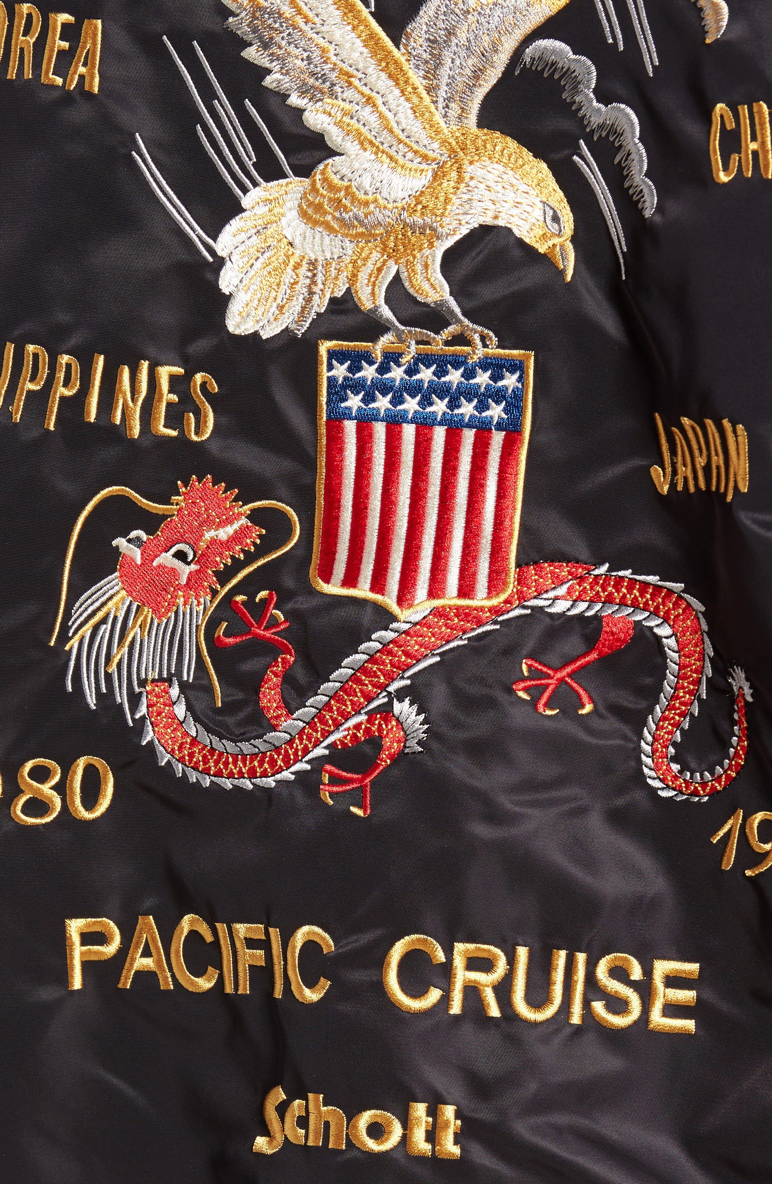 USS Mississippi Bomber Jacket,                             Alternate thumbnail 5, color,                             Black
