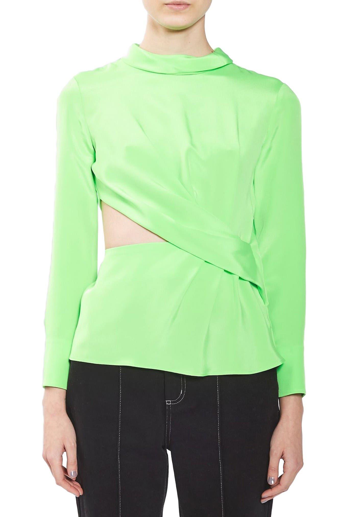 Twist Cutout Silk Top,                             Main thumbnail 1, color,                             Bright Green