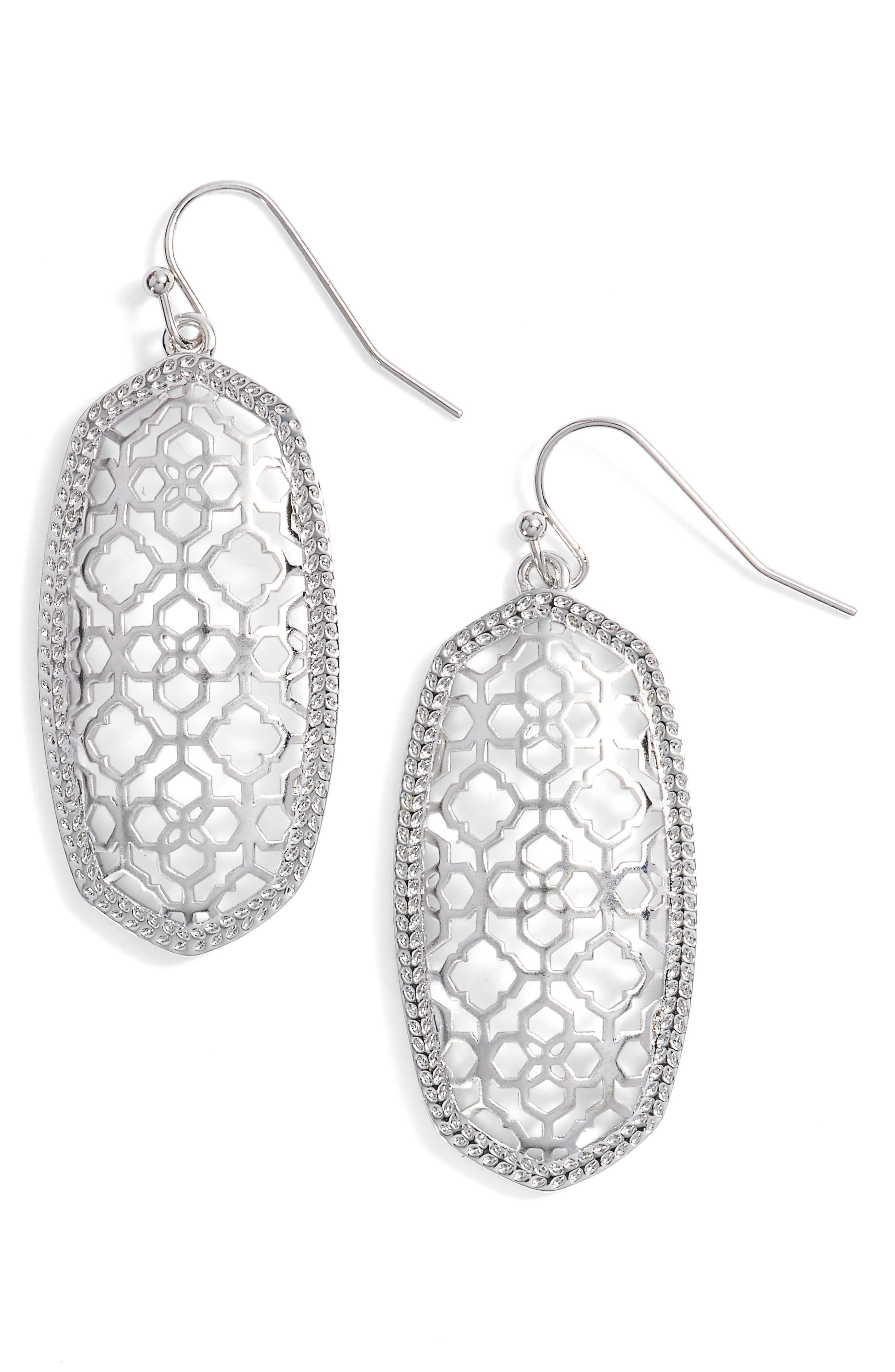 Elle Filigree Drop Earrings,                         Main,                         color, Silver
