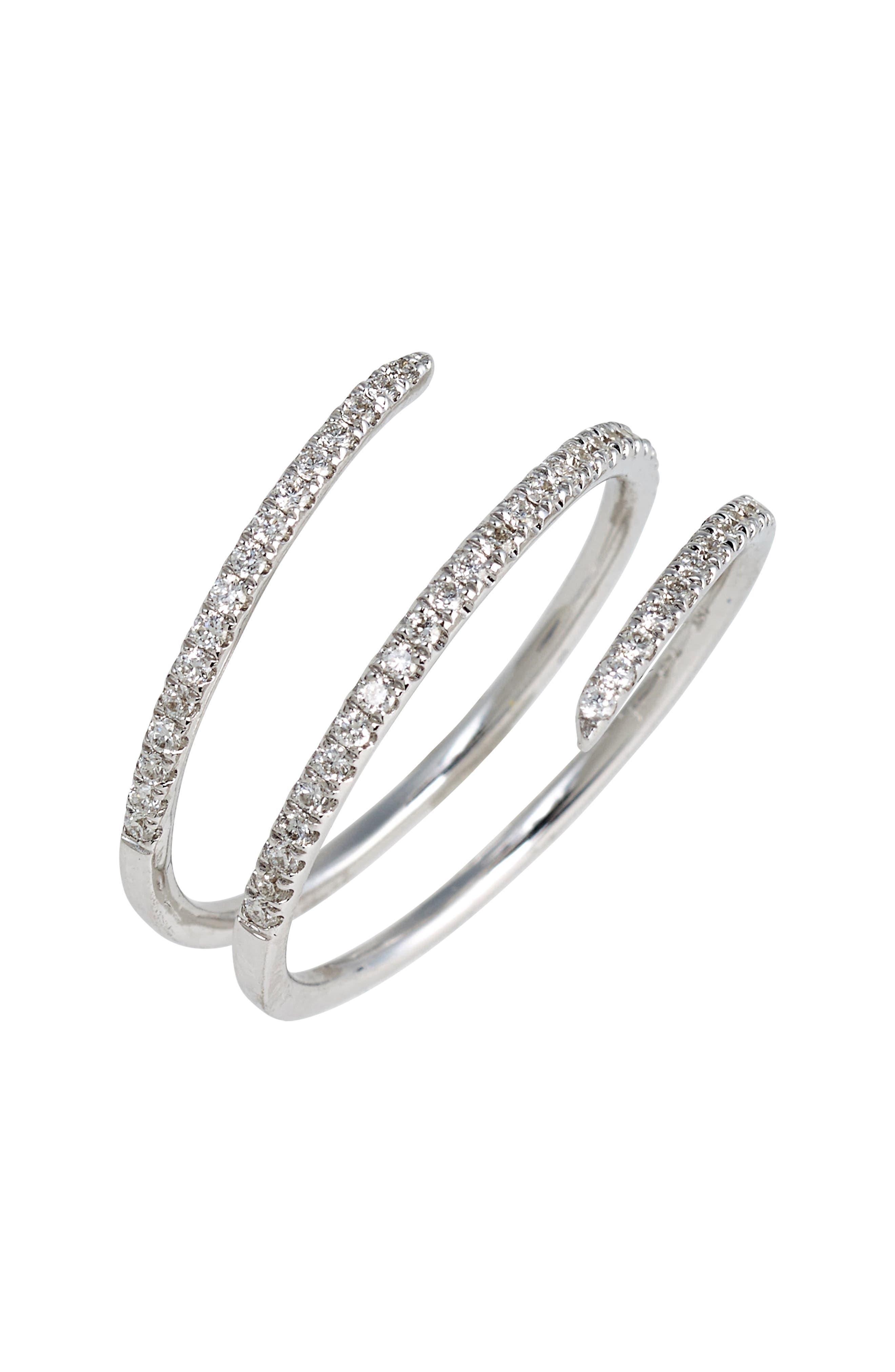 Diamond Coil Ring,                         Main,                         color, White Gold