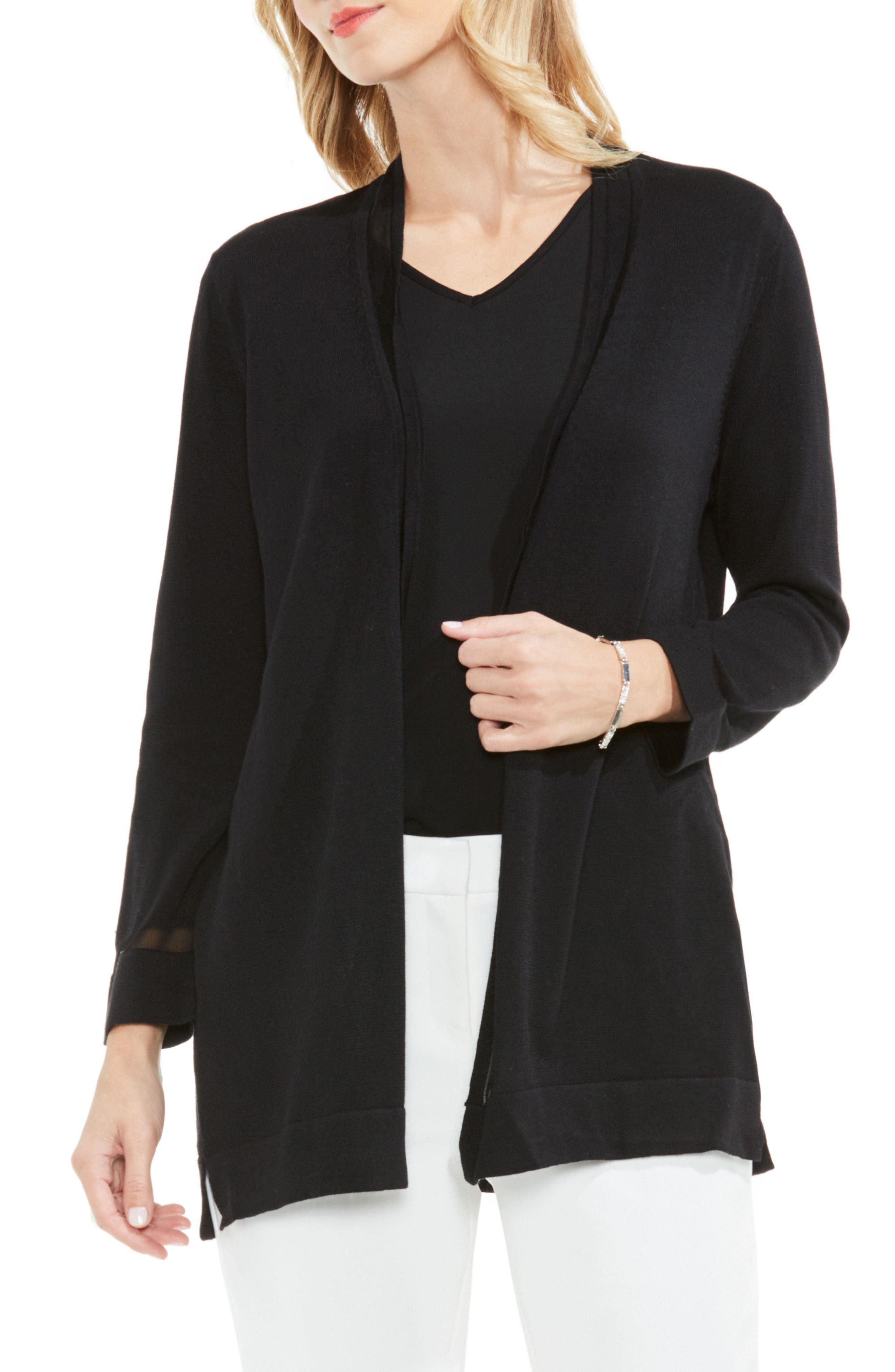 Alternate Image 1 Selected - Vince Camuto Sheer Stripe Cardigan
