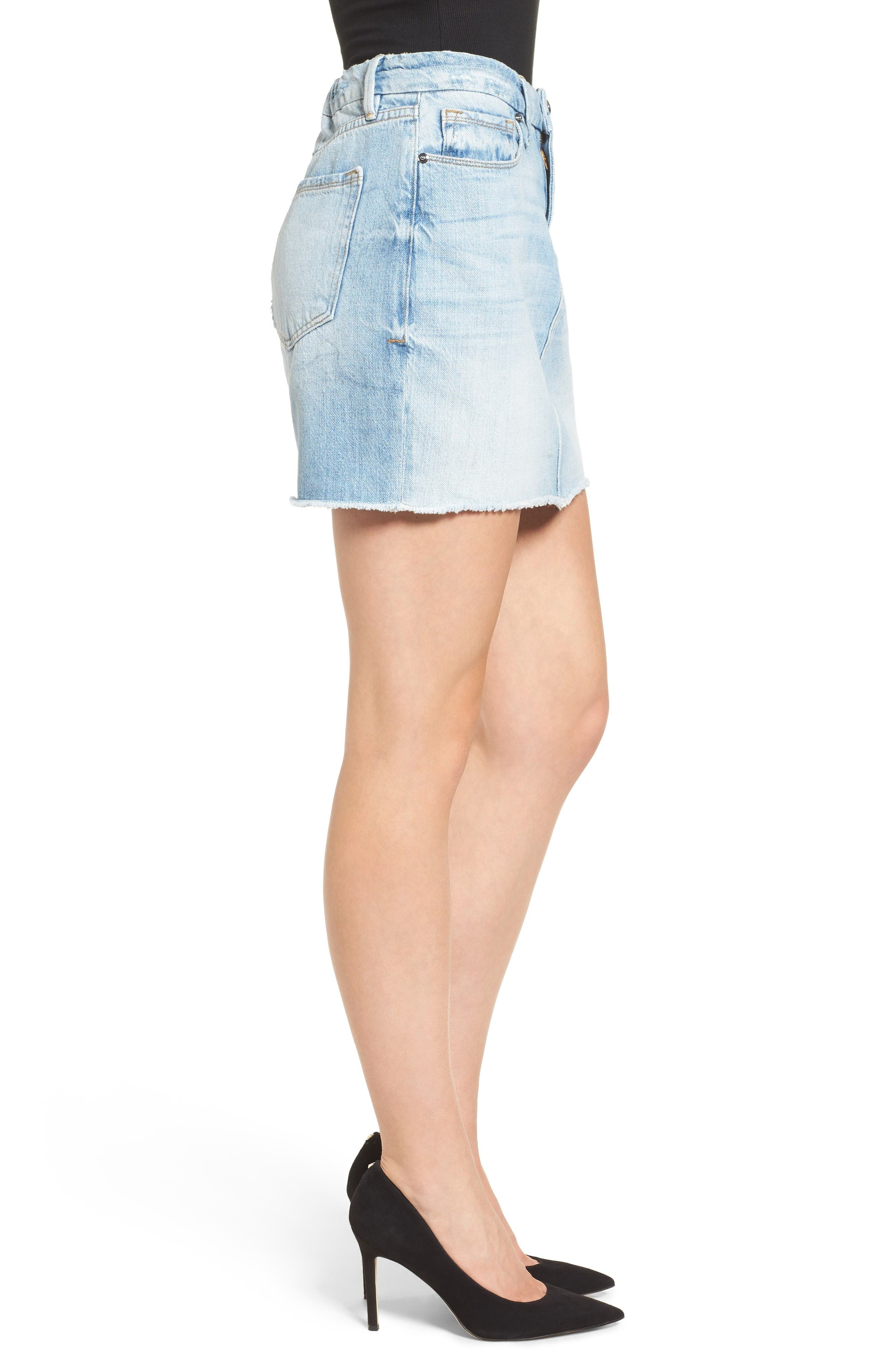 The Mini High Waist Denim Miniskirt,                             Alternate thumbnail 3, color,                             Blue033