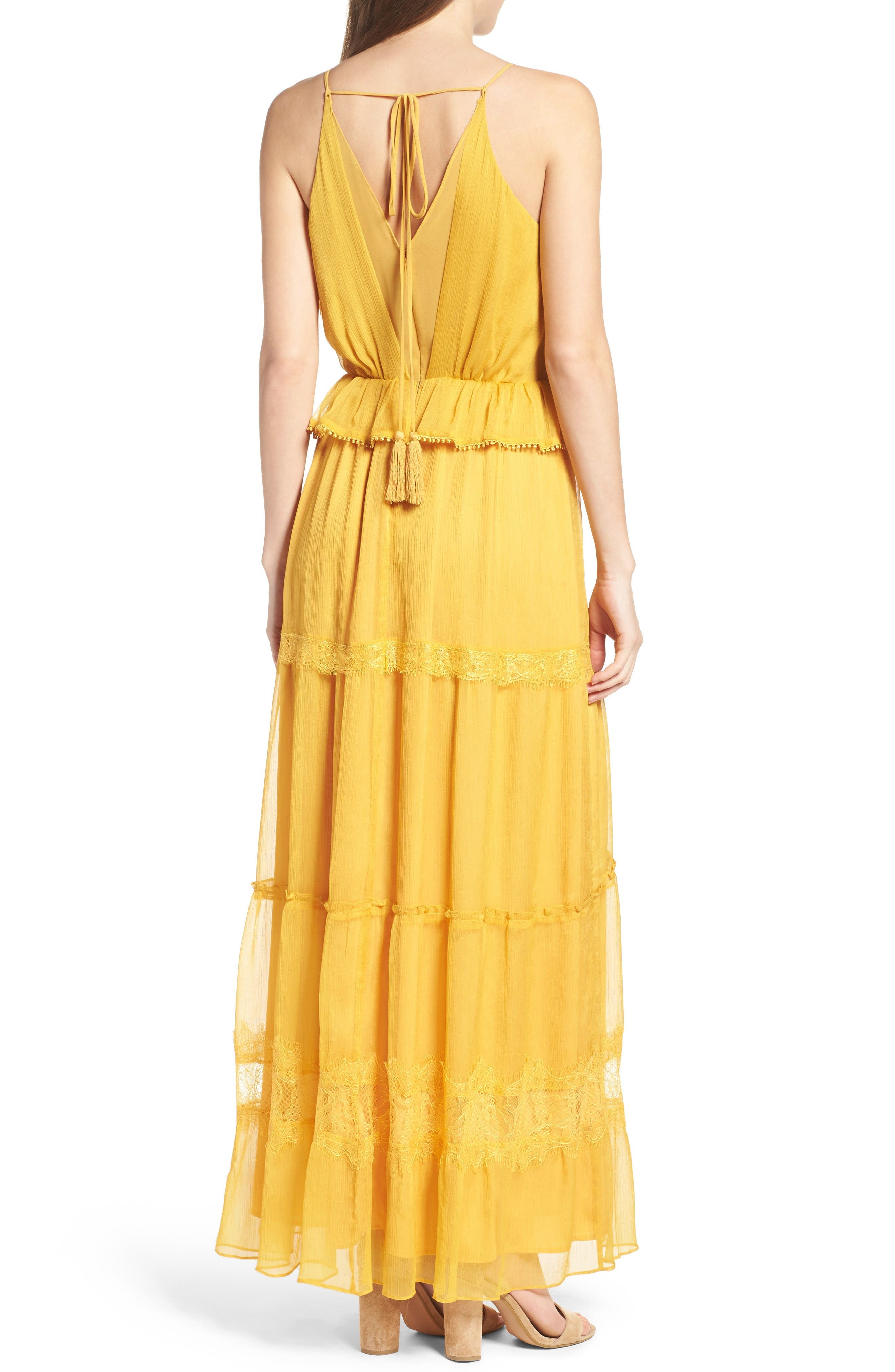 Tiered Chiffon Maxi Dress,                             Alternate thumbnail 2, color,                             Golden Yellow