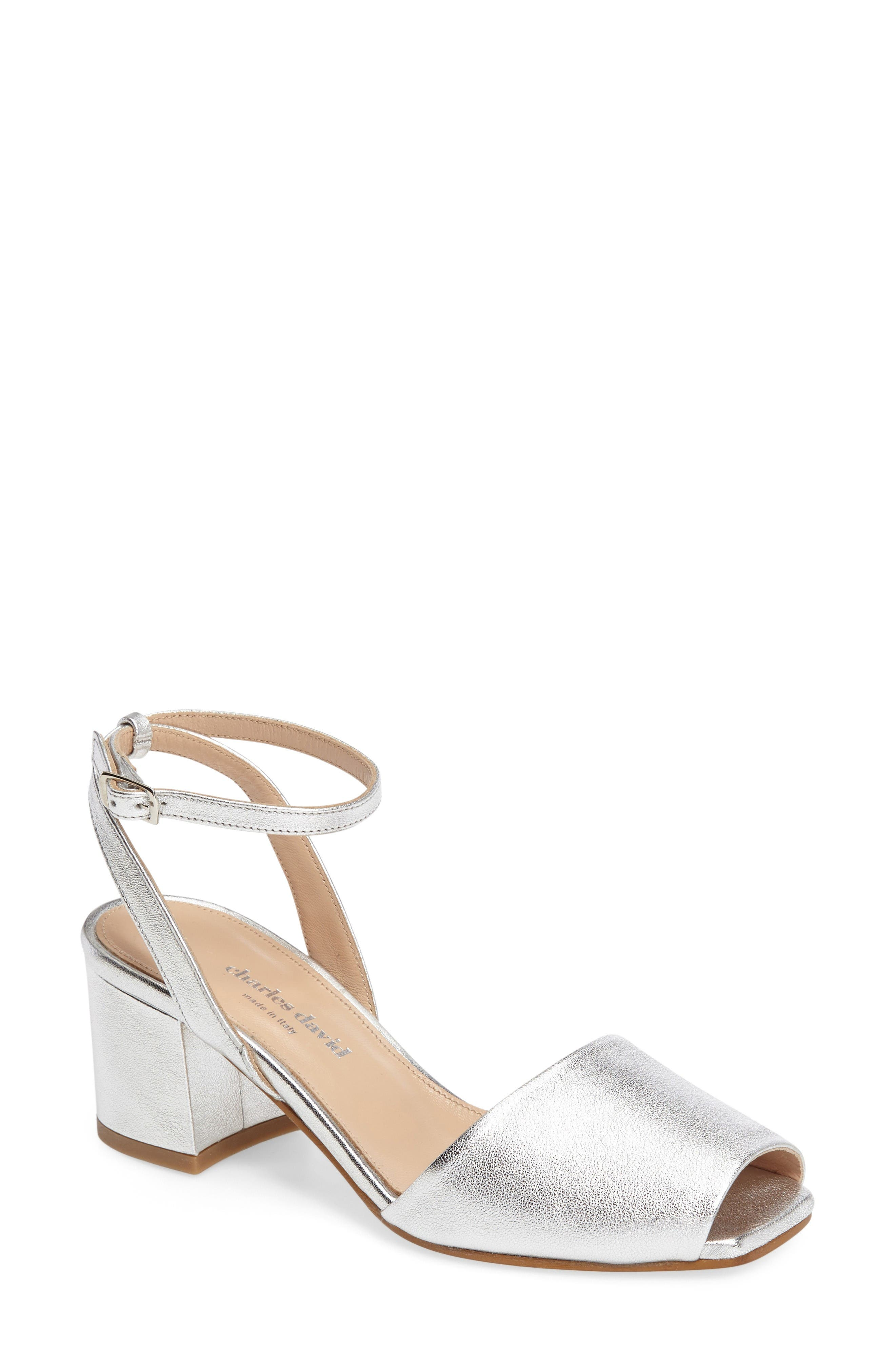 Cube Sandal,                         Main,                         color, Silver Leather