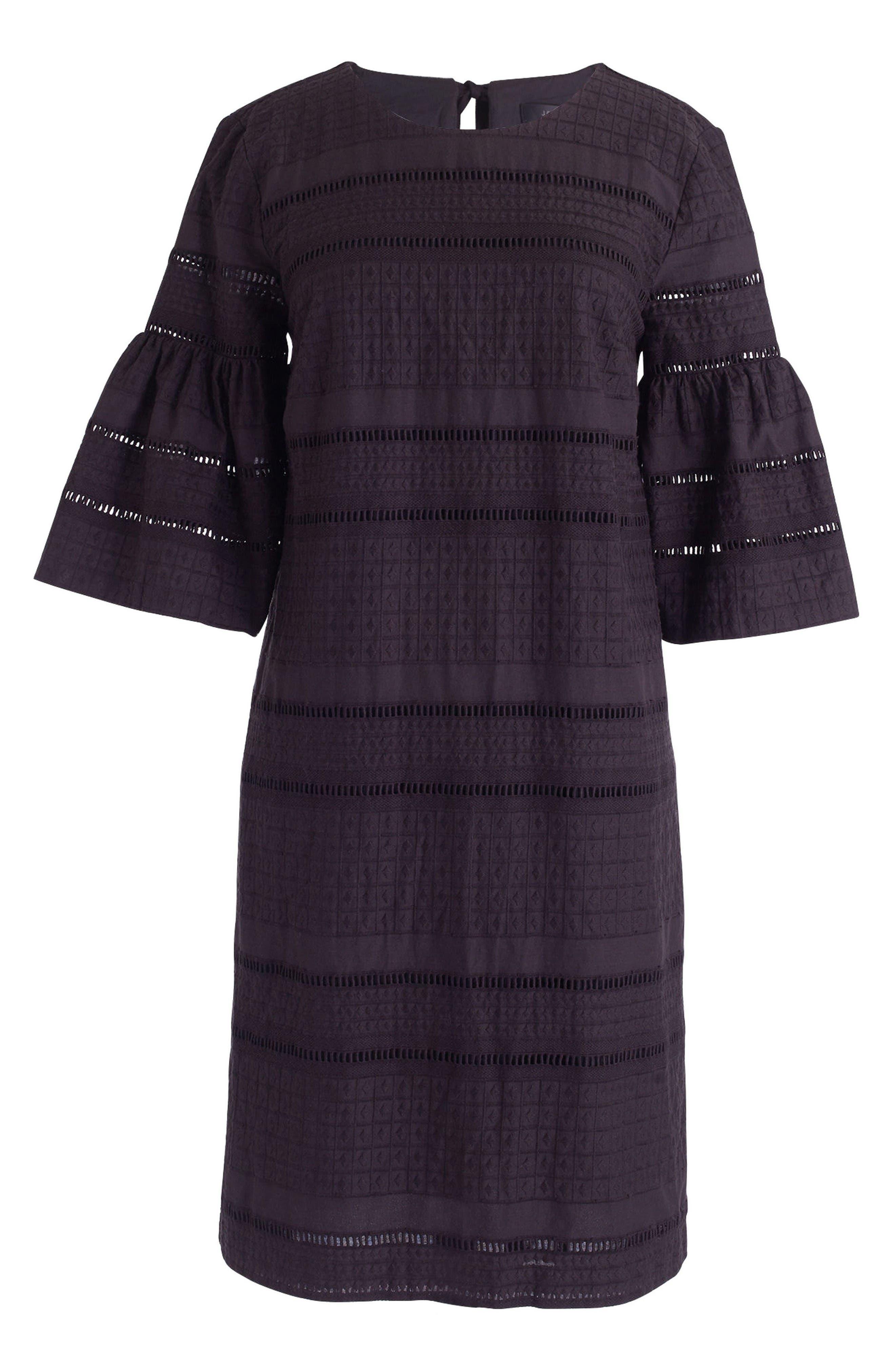 Flutter Sleeve Eyelet Shift Dress,                             Alternate thumbnail 2, color,                             Black