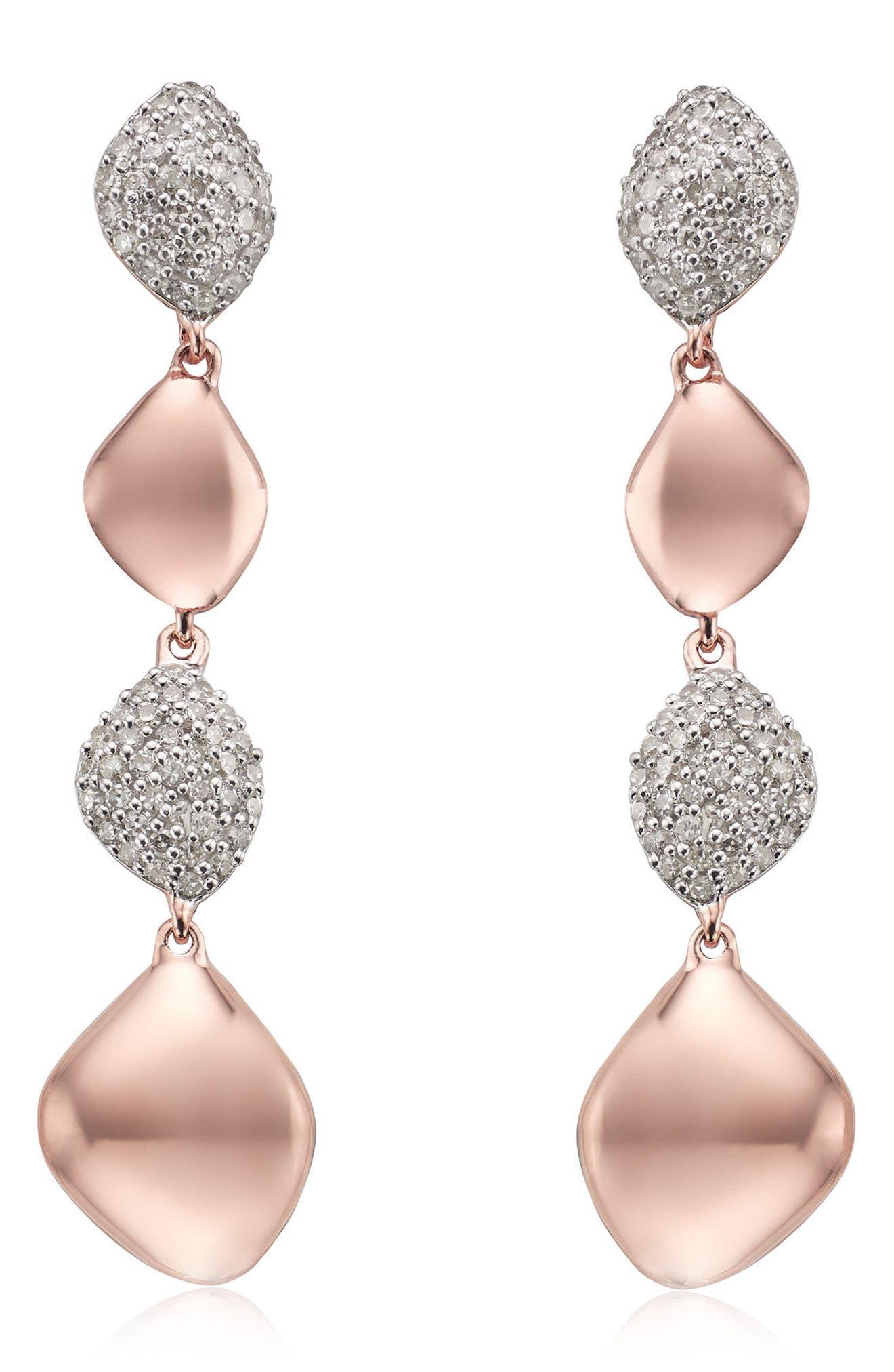 Monica Vinader Nura Vermeil Diamond Drop Earrings