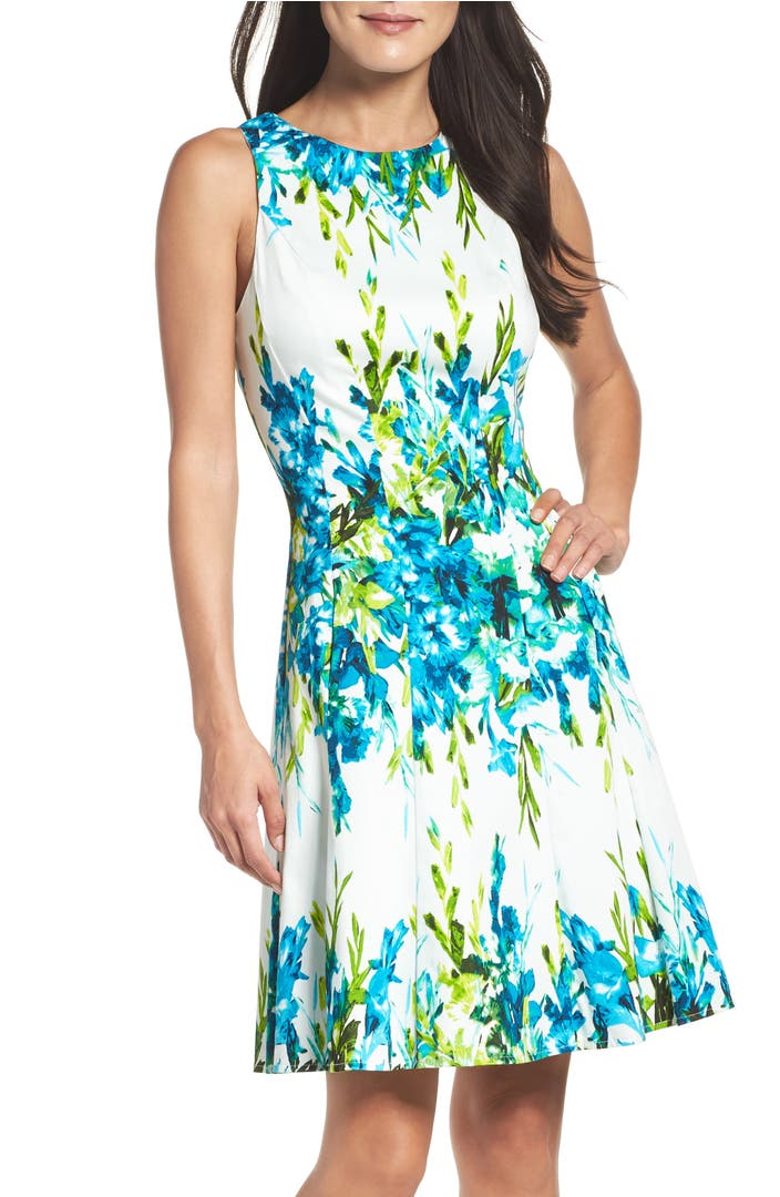 Maggy London Print Fit Amp Flare Dress Nordstrom