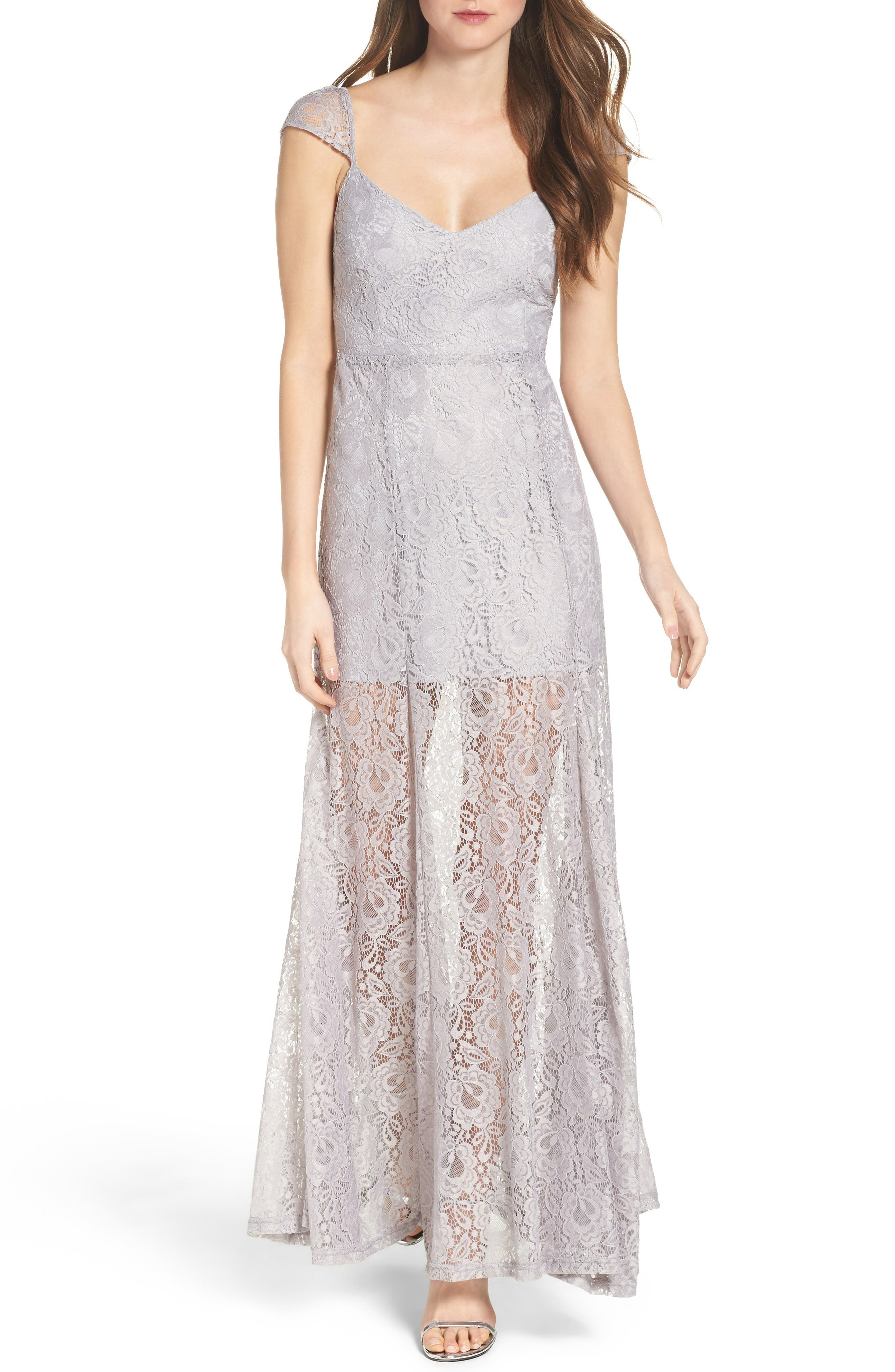 Lace Illusion Skirt Gown,                         Main,                         color, Grey