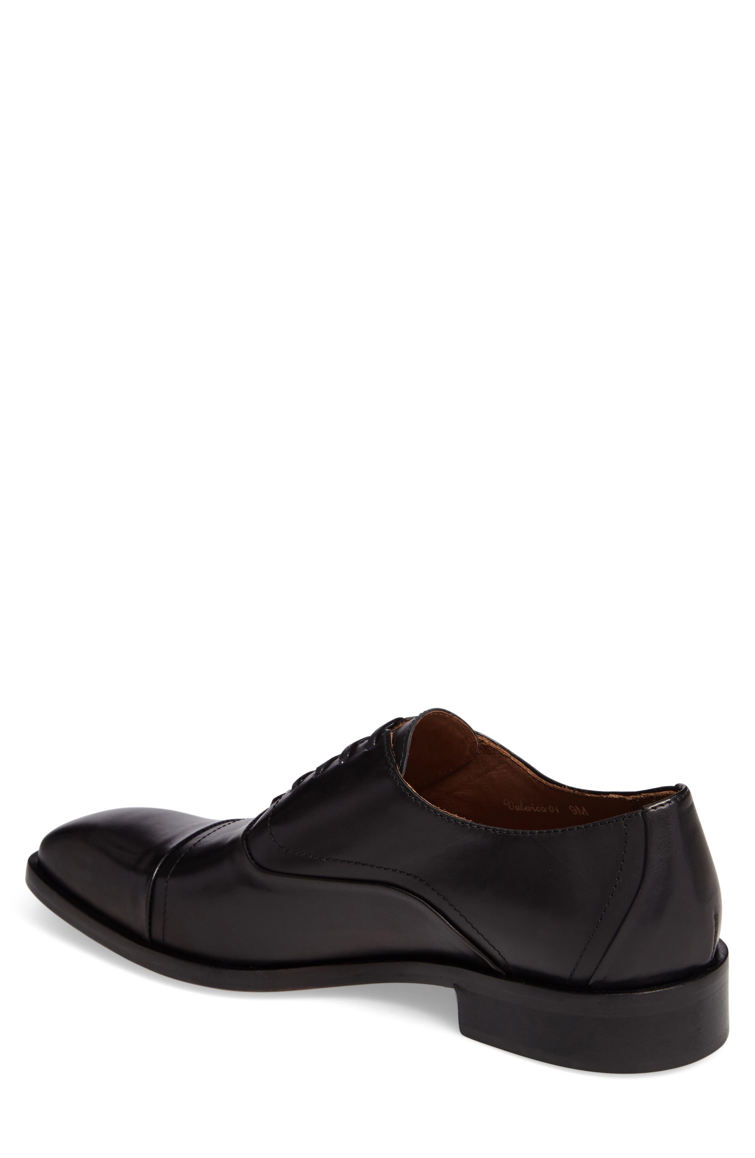 Valerico Cap Toe Oxford,                             Alternate thumbnail 2, color,                             Black Leather