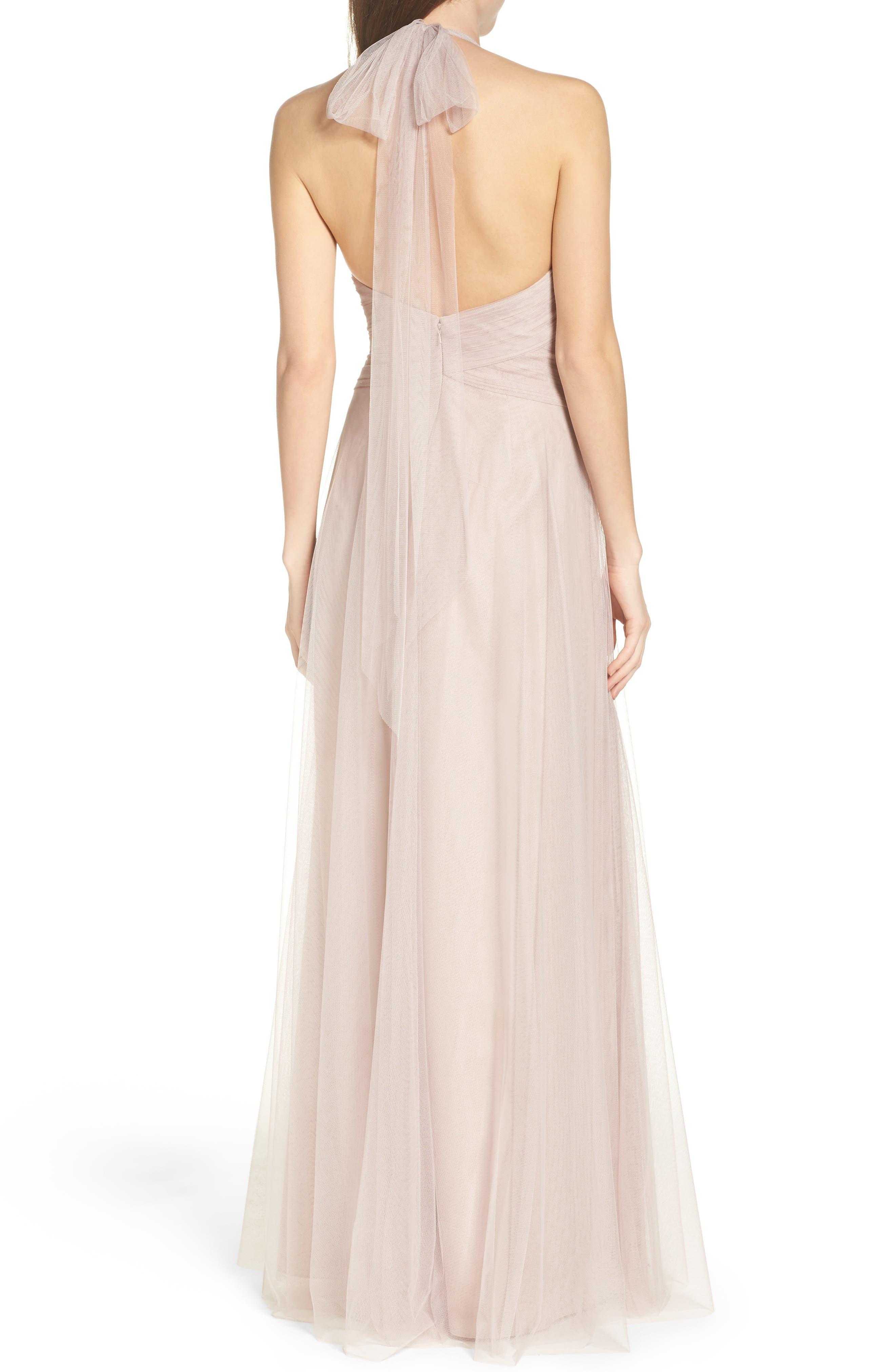 Halter Tulle A-Line Gown,                             Alternate thumbnail 2, color,                             Latte