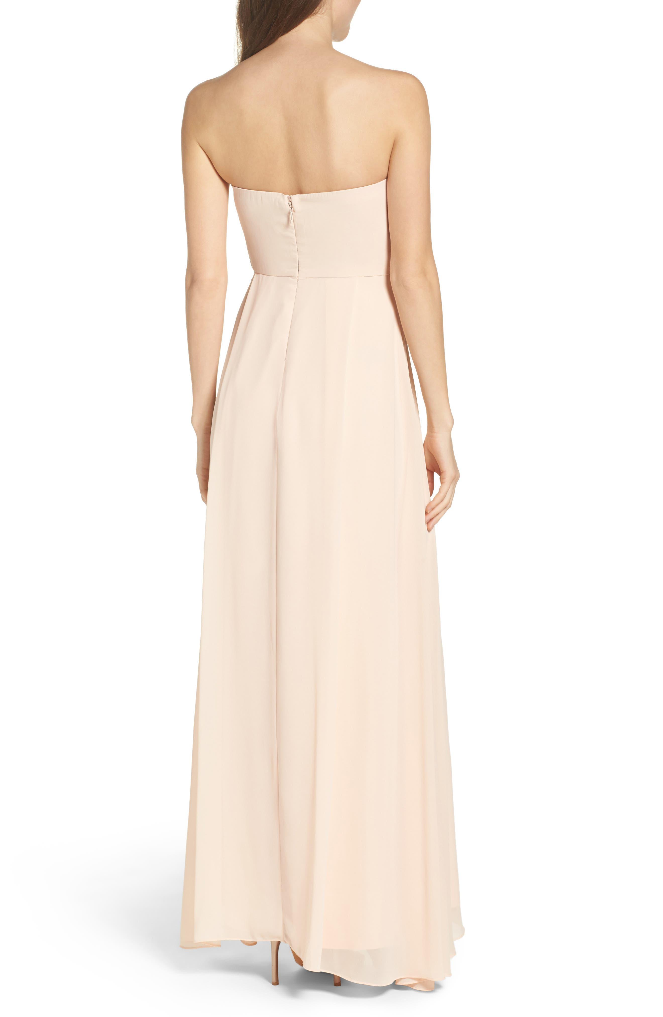 Chiffon Strapless Maxi Dress,                             Alternate thumbnail 2, color,                             Blush
