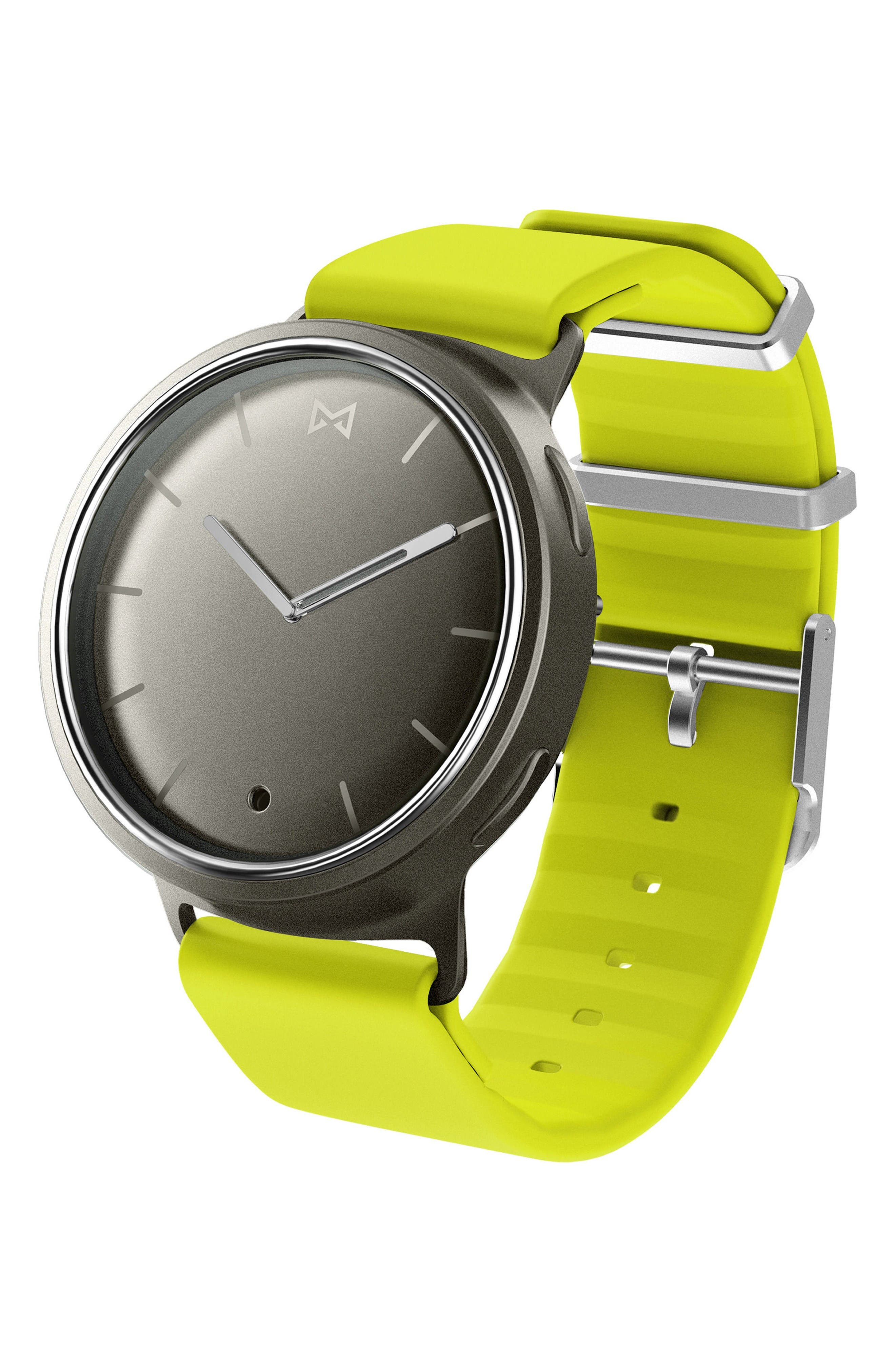 Phase Silicone Strap Smart Watch, 40mm,                         Main,                         color, Lime/ Silver