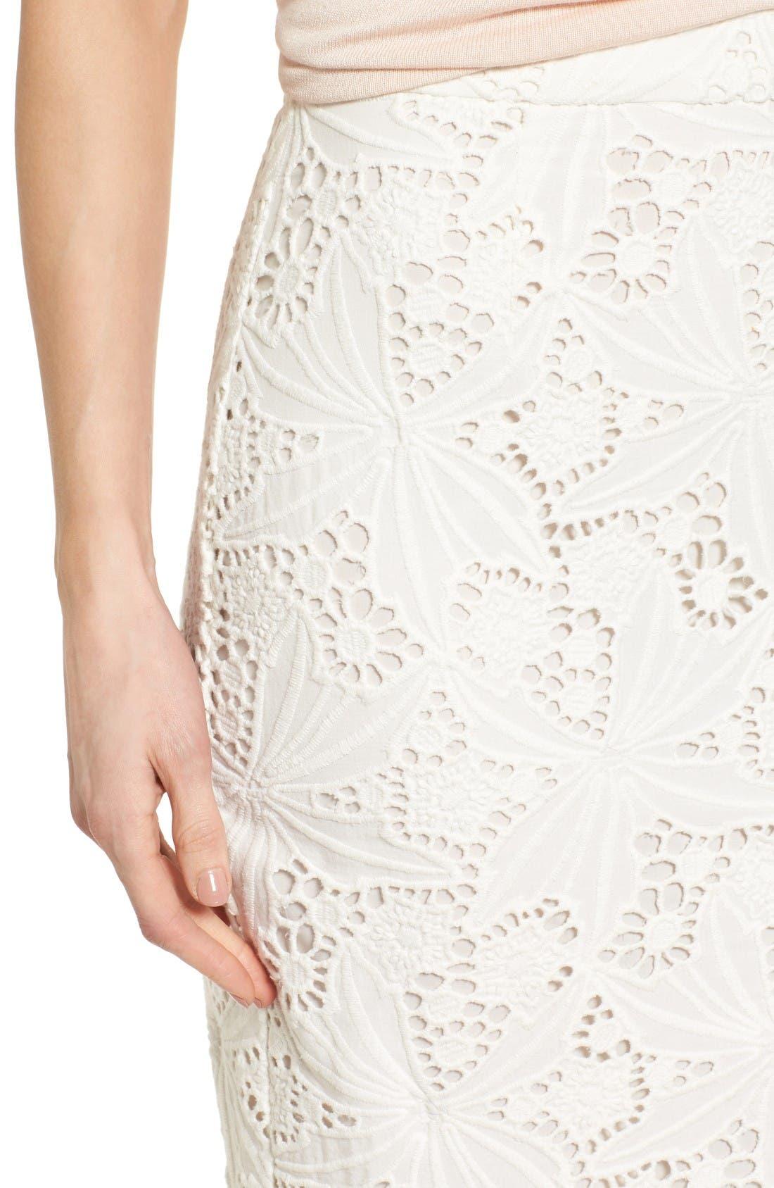 Alternate Image 5  - Halogen® Scalloped Lace Pencil Skirt (Regular & Petite)