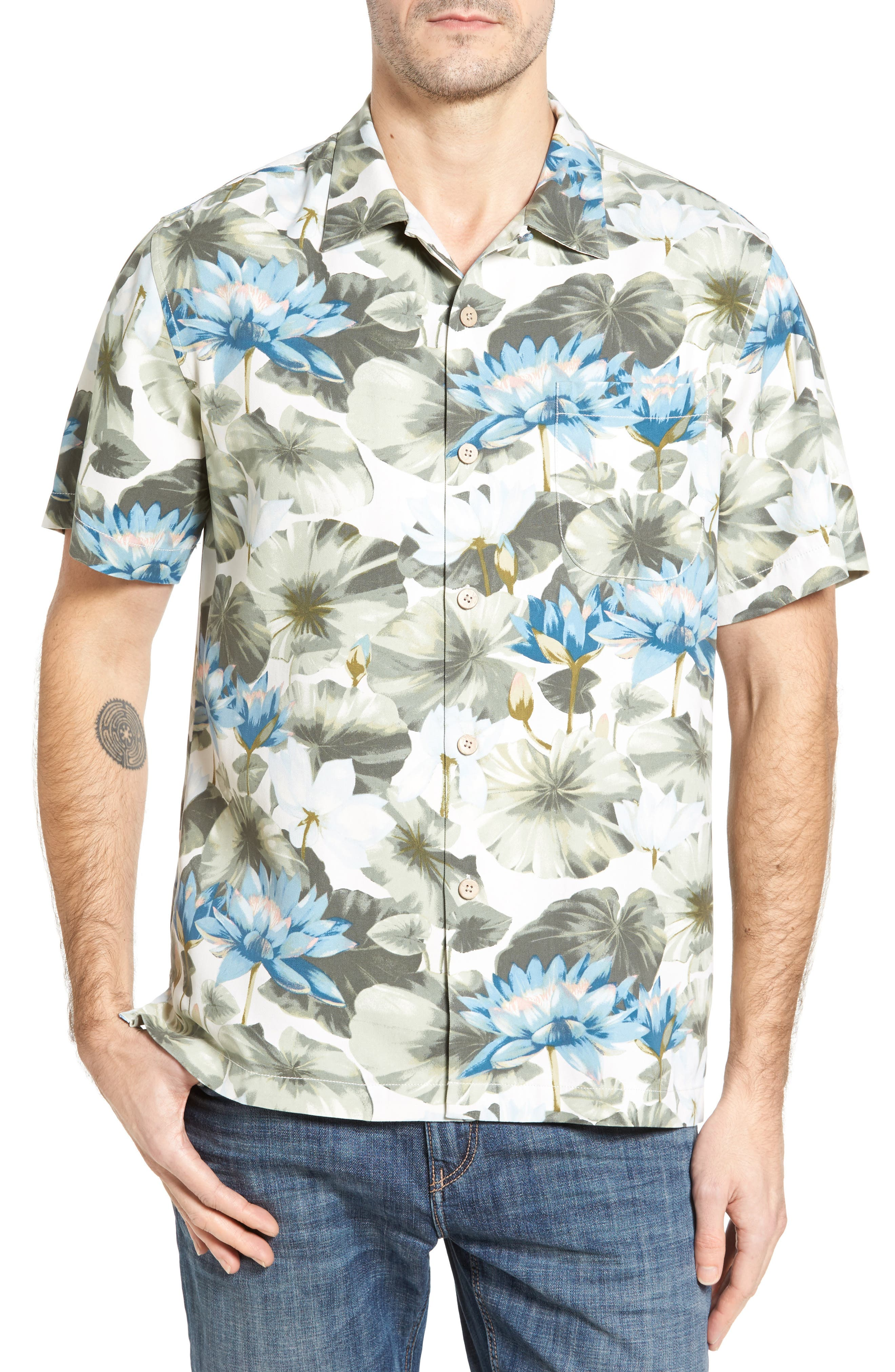 Main Image - Tommy Bahama Garden of Hope and Courage Silk Camp Shirt