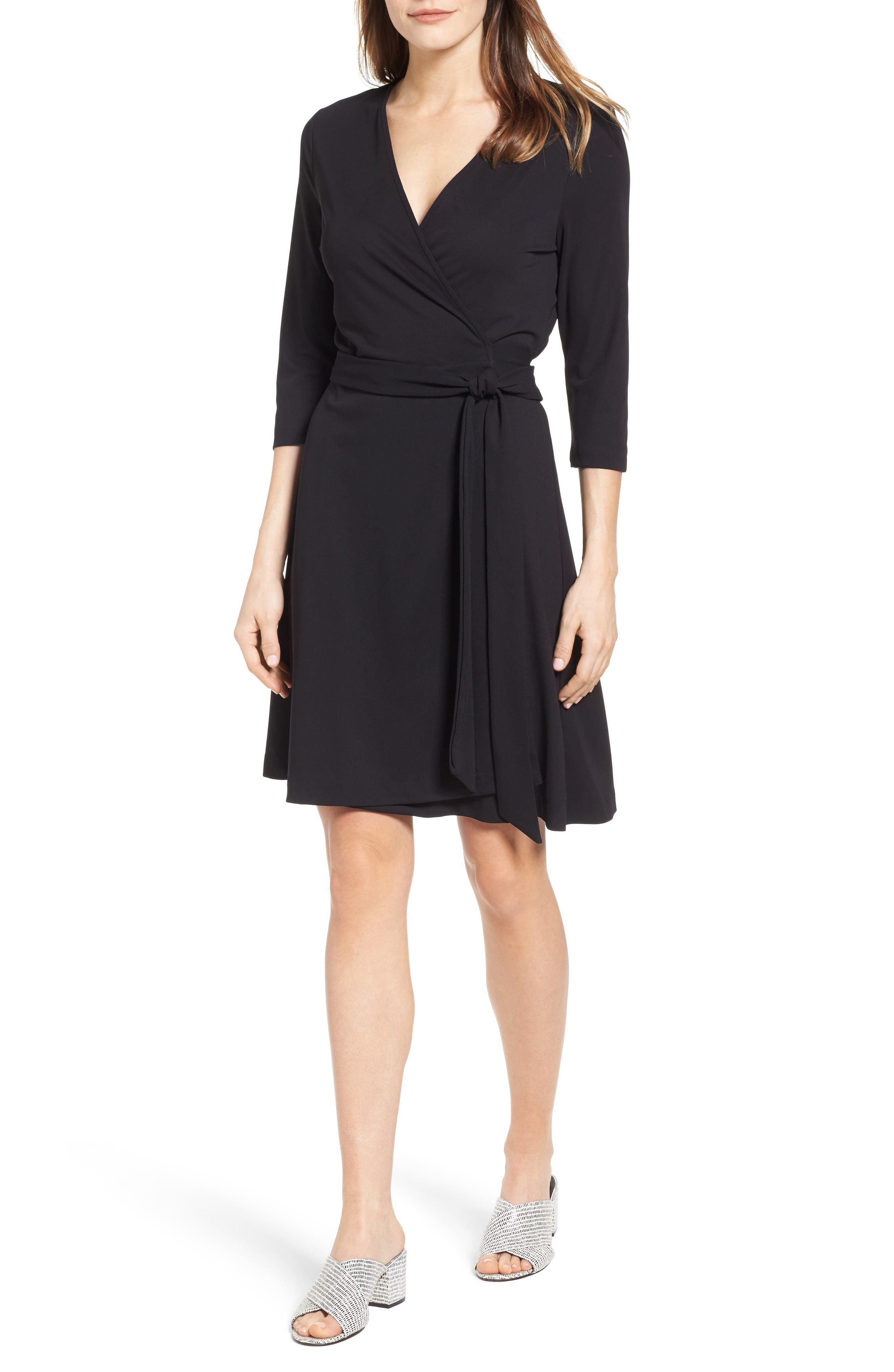 Jersey Wrap Dress,                         Main,                         color, Rich Black