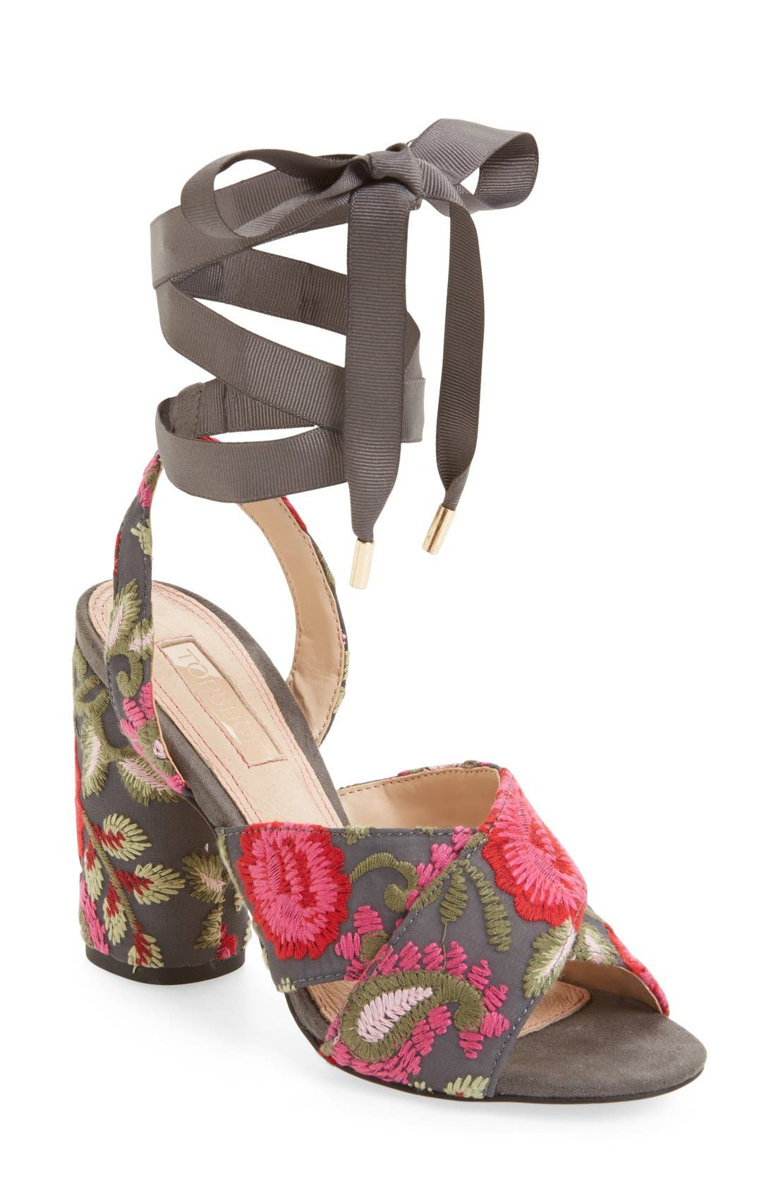 Reena Embroidered Sandal,                             Main thumbnail 1, color,                             Pink Multi