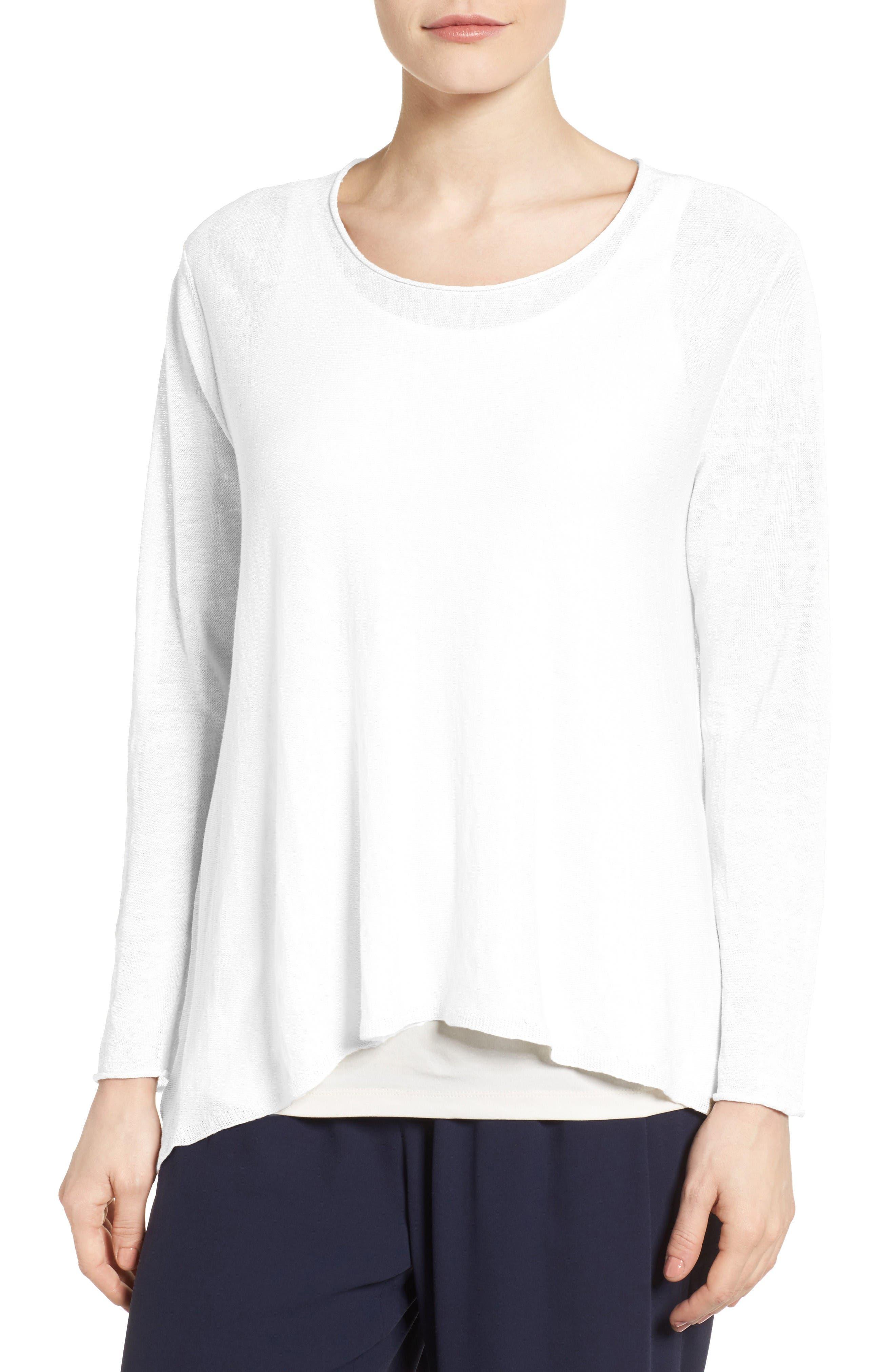 Main Image - Eileen Fisher Organic Linen Blend Swing Sweater (Regular & Petite)