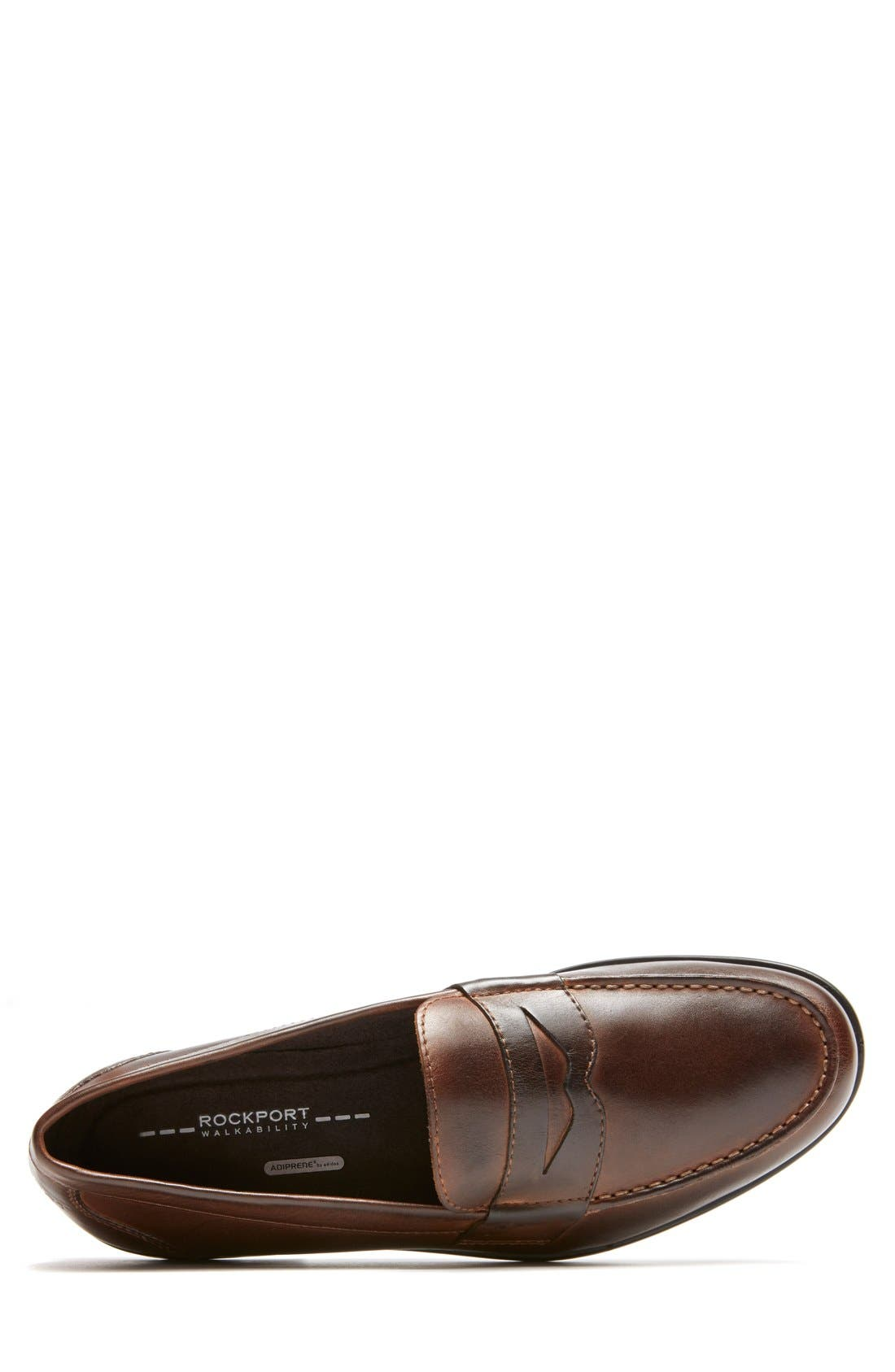 Leather Penny Loafer,                             Alternate thumbnail 4, color,                             Brown