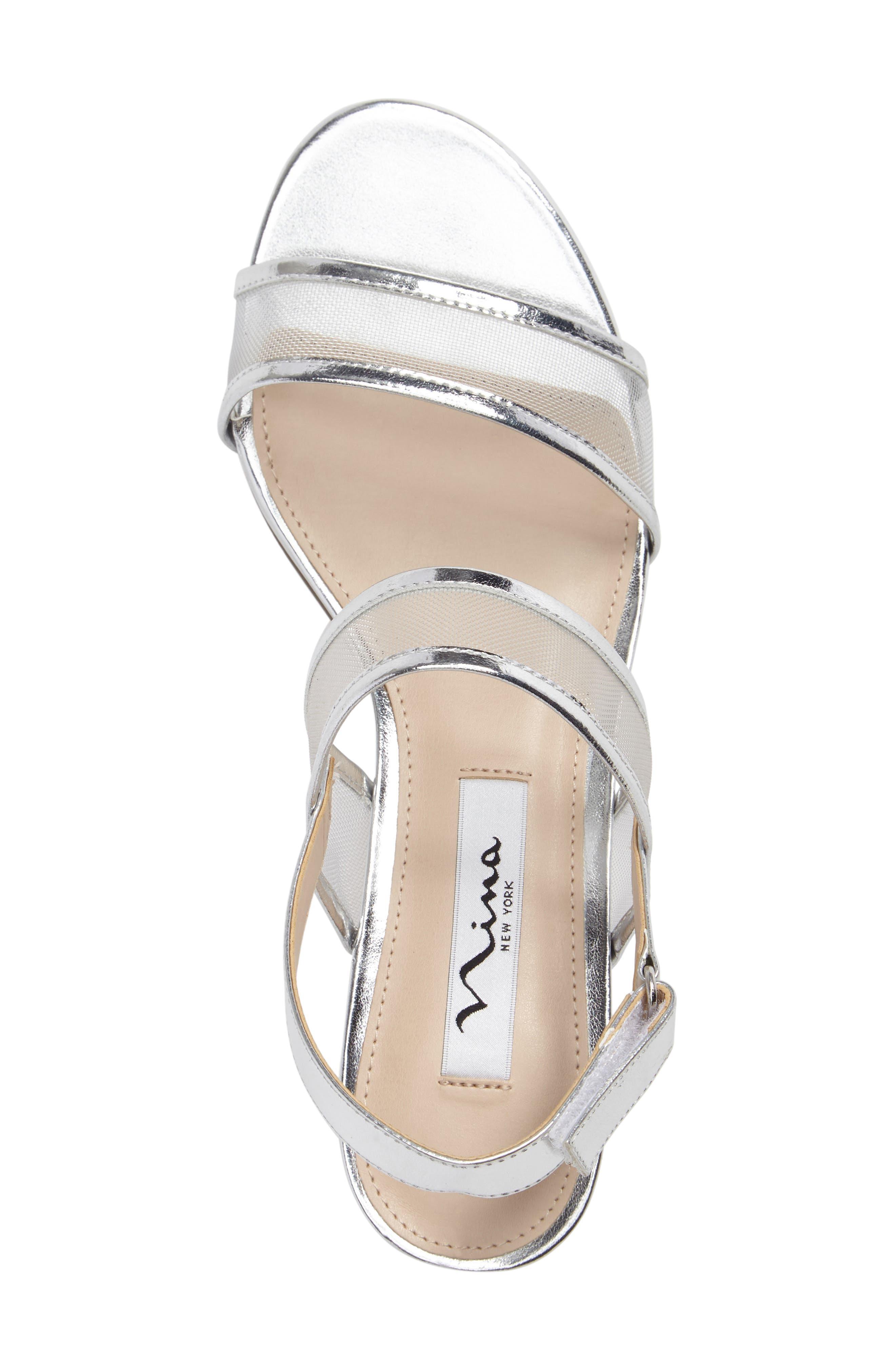 Ganice Mesh Strap Sandal,                             Alternate thumbnail 3, color,                             Silver Faux Leather