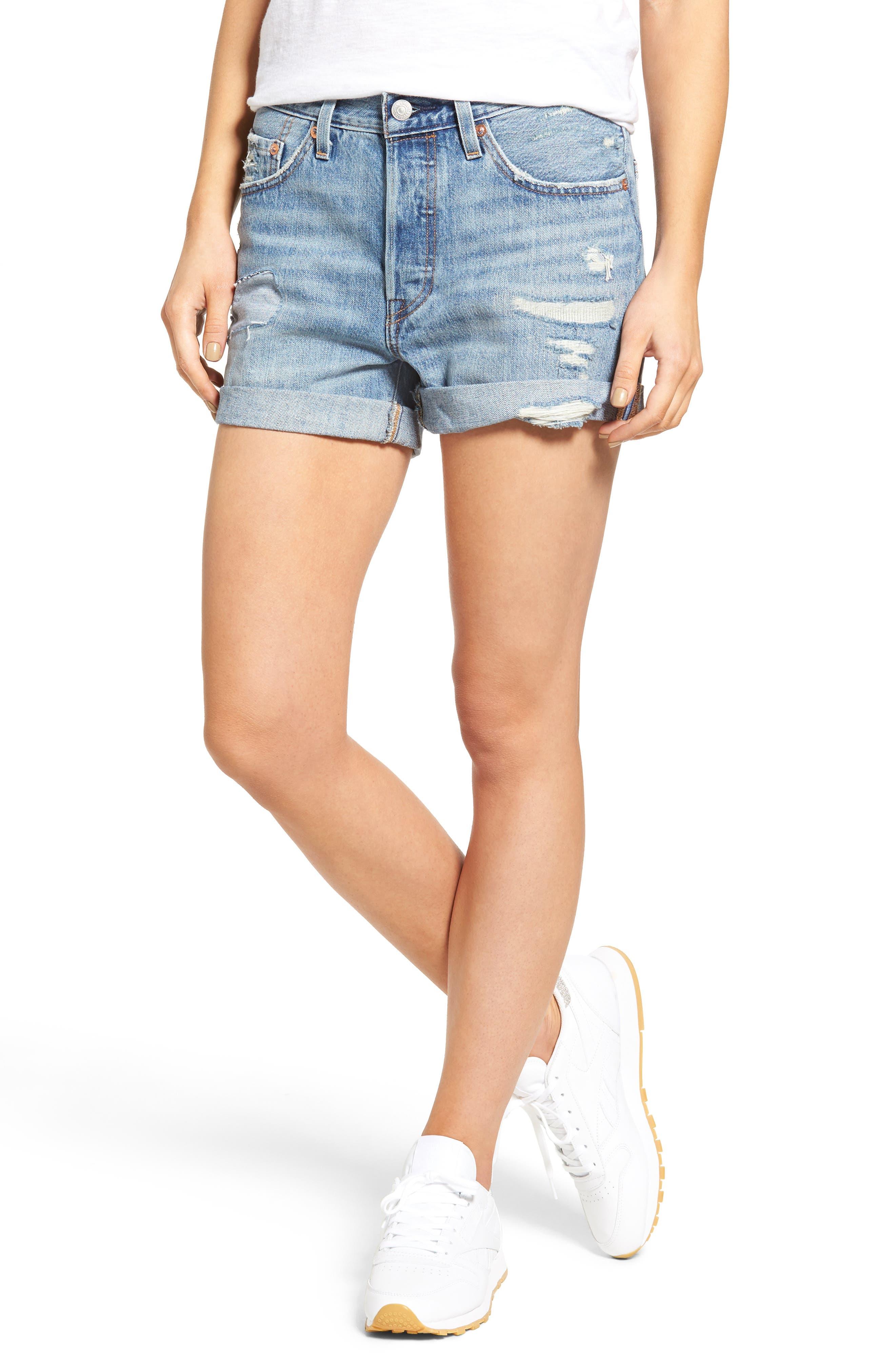 501 Long Denim Shorts,                         Main,                         color, Highway Blues