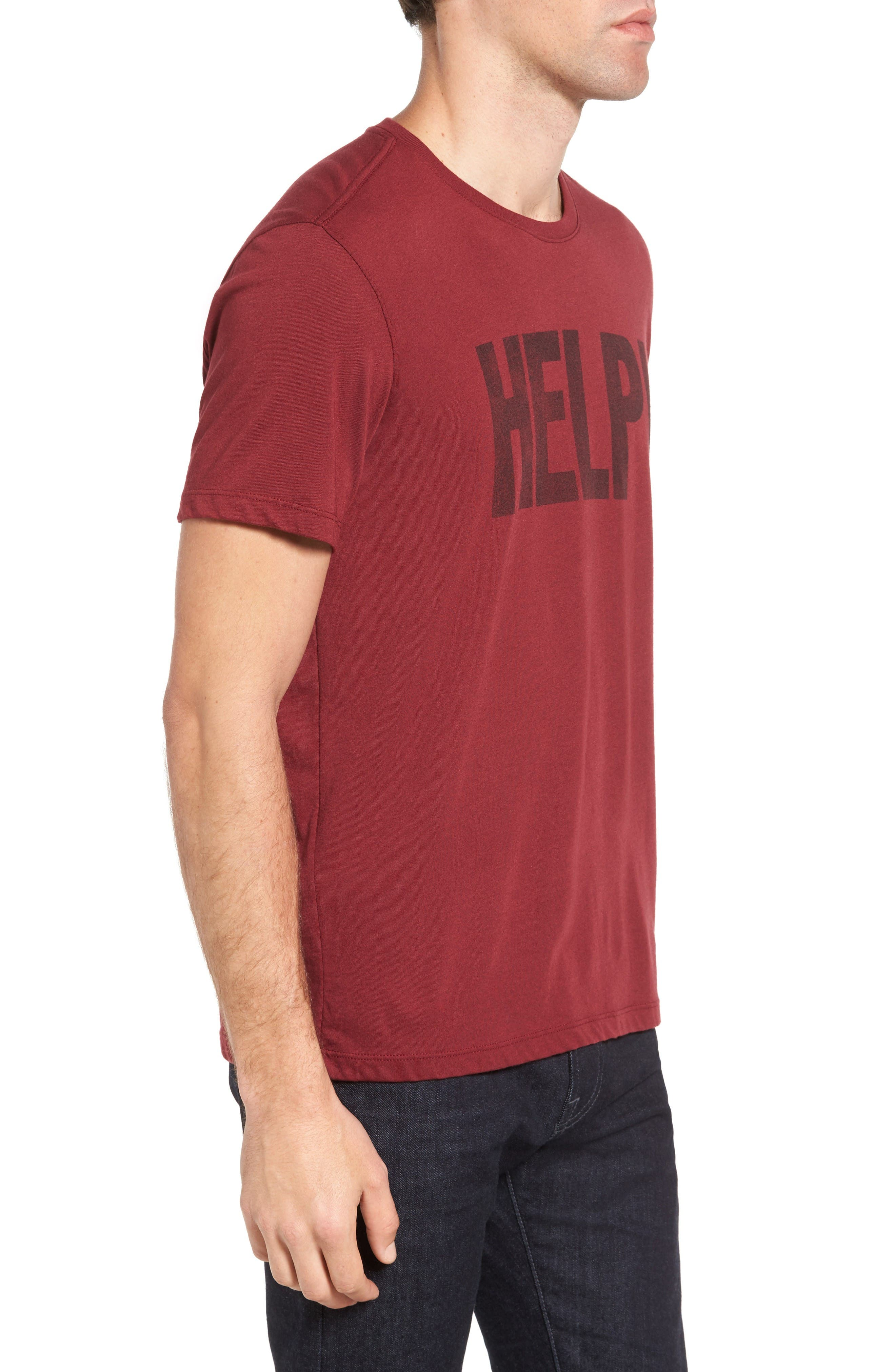 Beatles Help Graphic T-Shirt,                             Alternate thumbnail 3, color,                             Oxblood