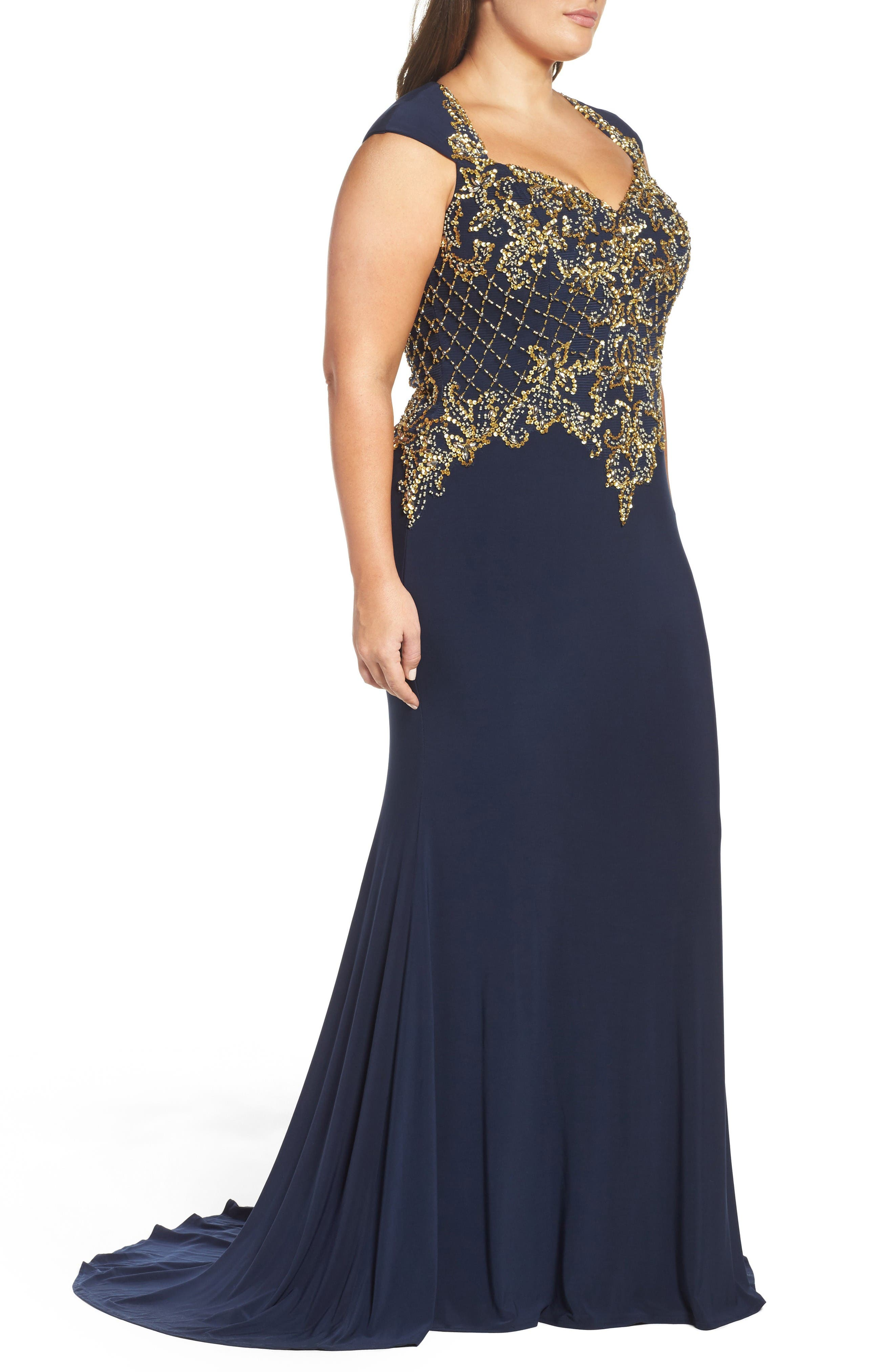 Embellished Jersey Mermaid Gown,                             Alternate thumbnail 3, color,                             Midnight