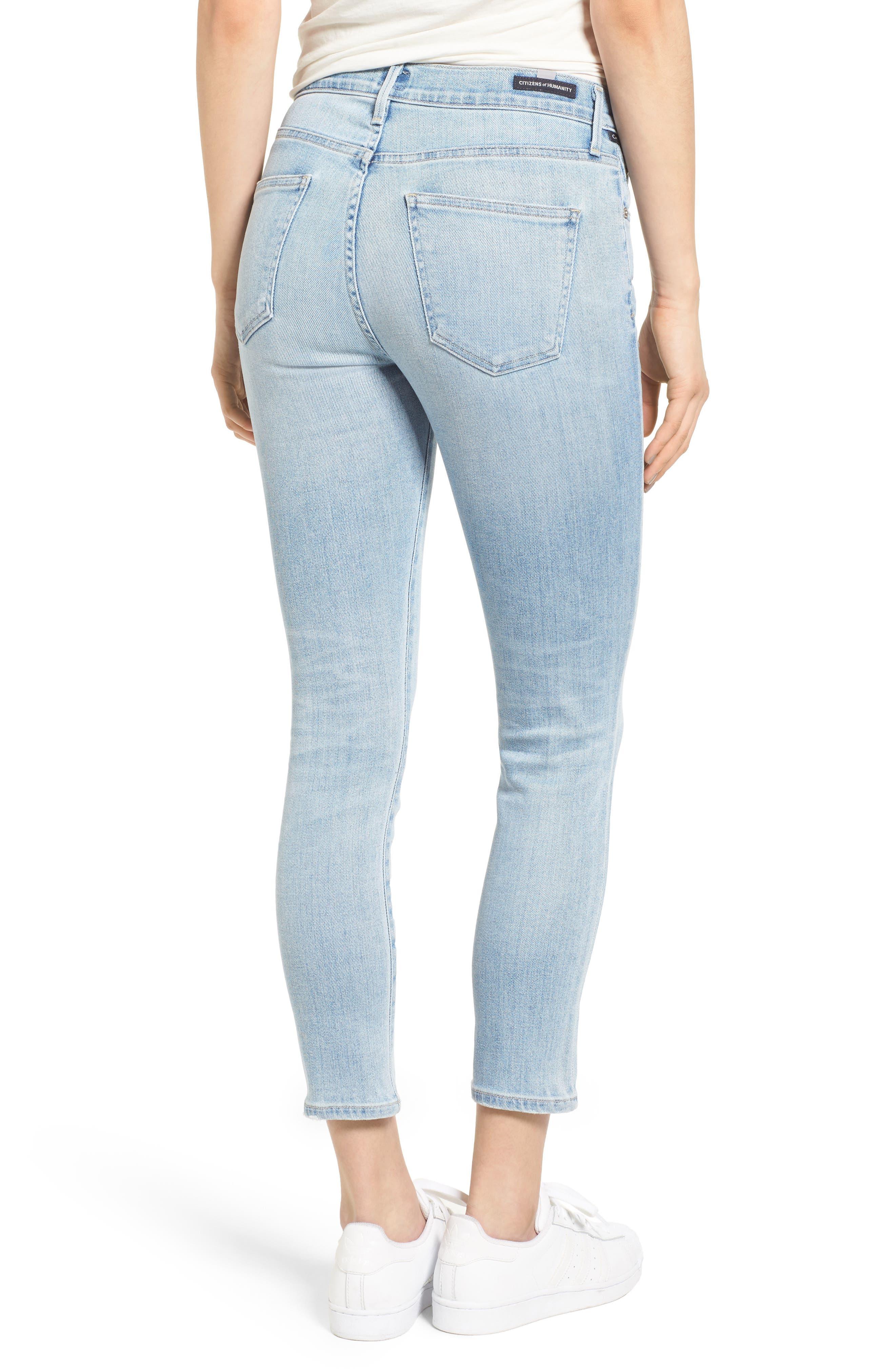 Rocket High Waist Crop Skinny Jeans,                             Alternate thumbnail 2, color,                             Oracle Blue