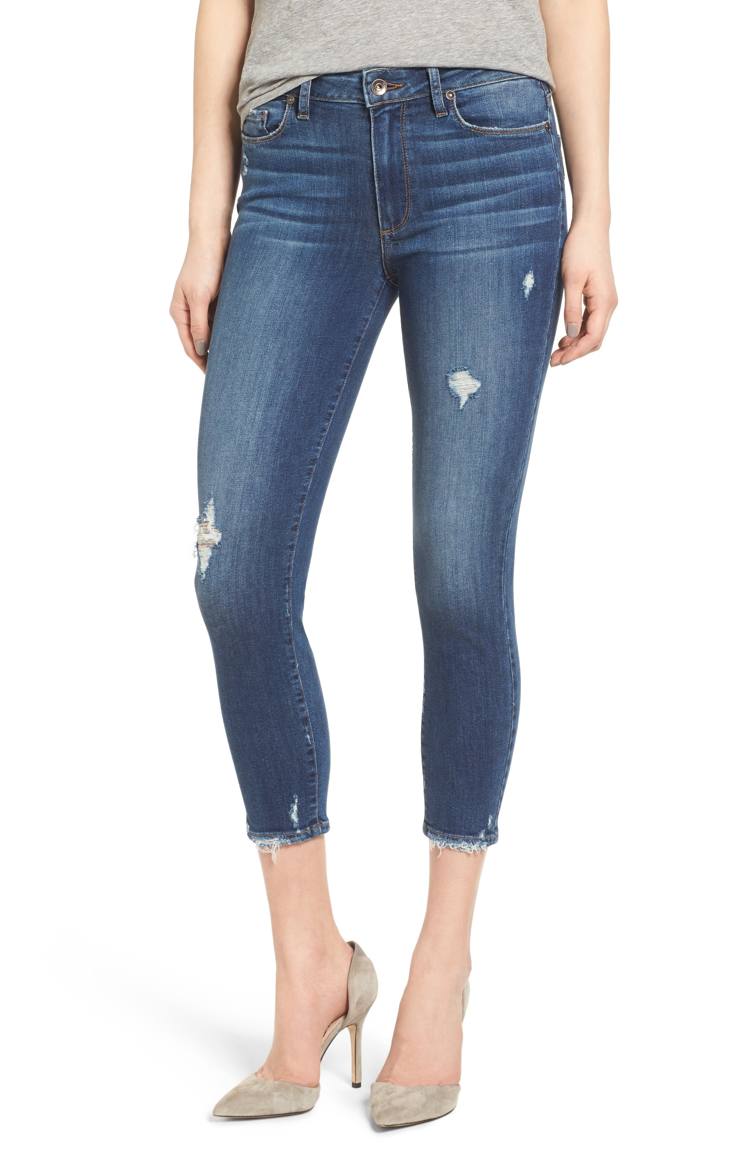 Transcend - Hoxton High Waist Crop Skinny Jeans,                             Main thumbnail 1, color,                             Nora Destructed