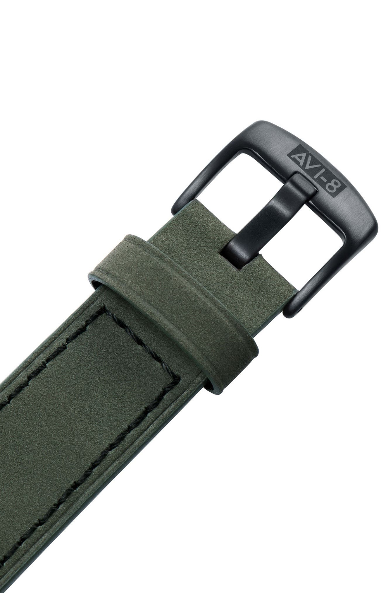 Lancaster Bomber Multifunction Leather Strap Watch, 44mm,                             Alternate thumbnail 4, color,                             Forrest Green/ Army Green