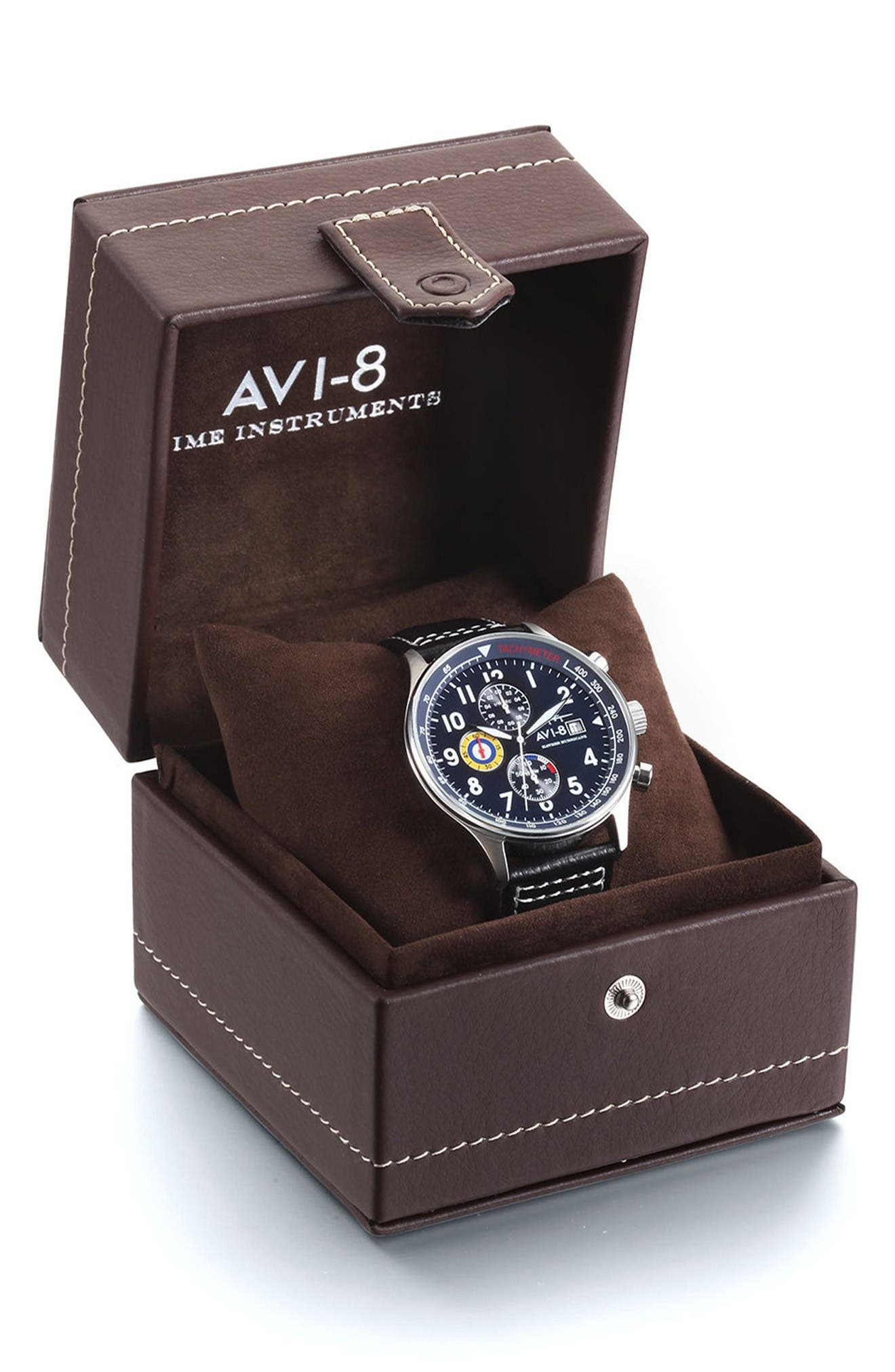 Alternate Image 5  - AVI-8 Hawker Hurricane Chronograph Leather Strap Watch, 42mm