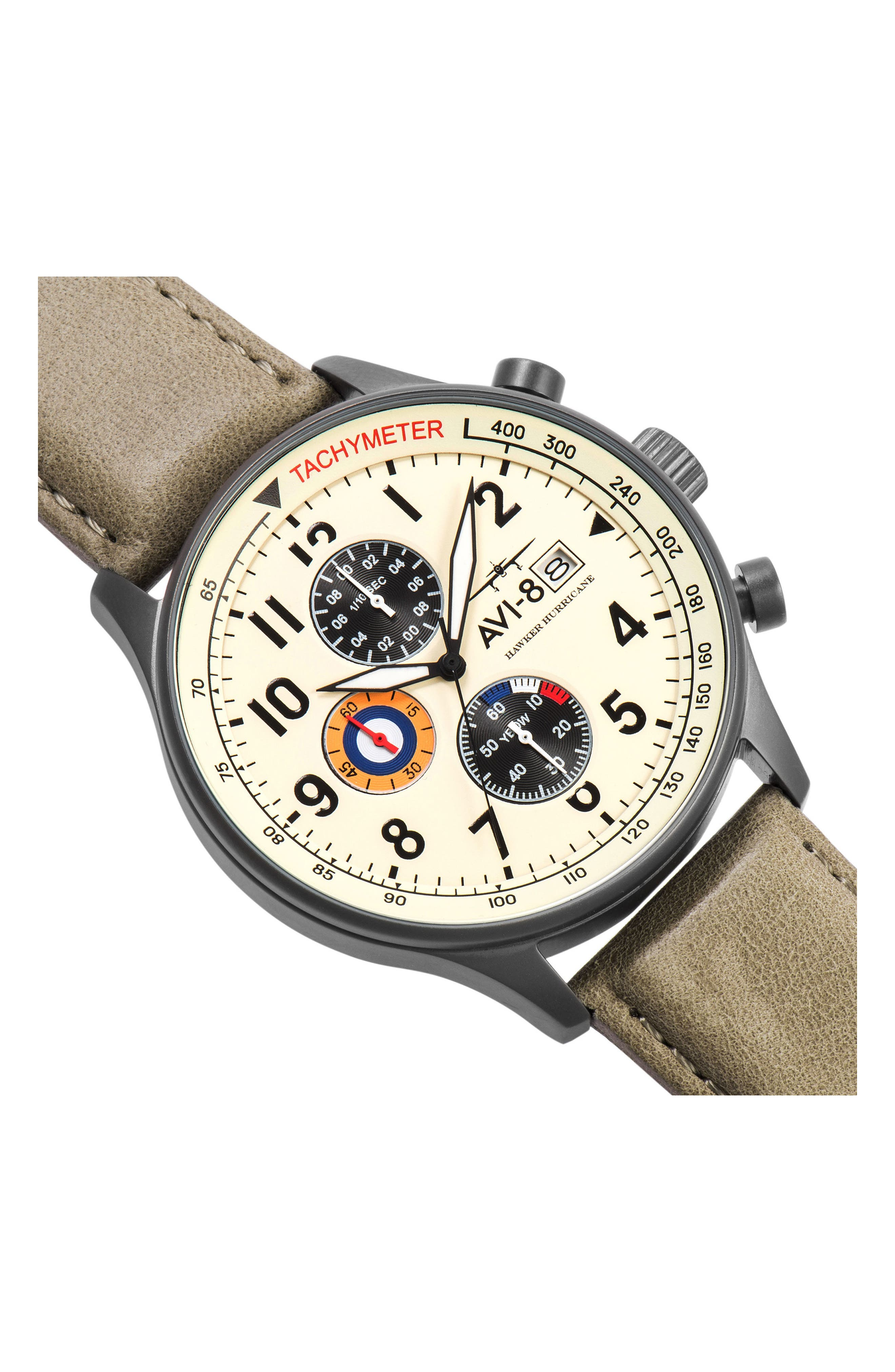 Alternate Image 4  - AVI-8 Hawker Hurricane Chronograph Leather Strap Watch, 42mm