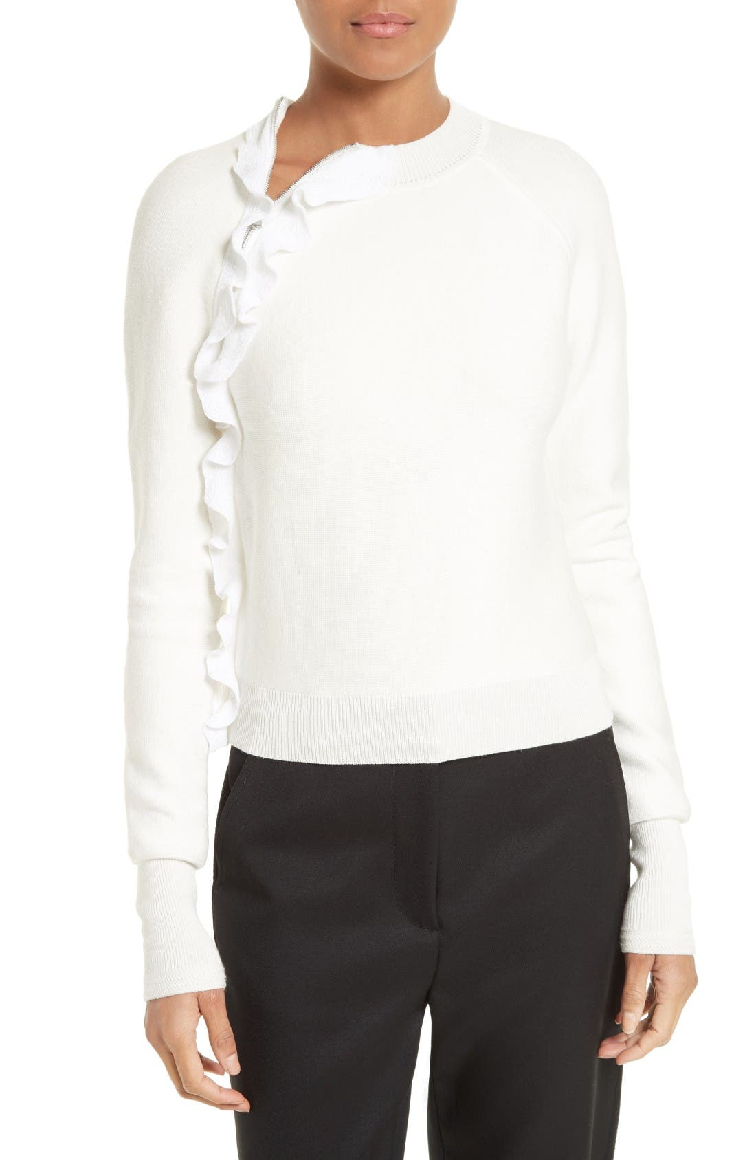 Ruffle Front Zip Pullover,                         Main,                         color, White