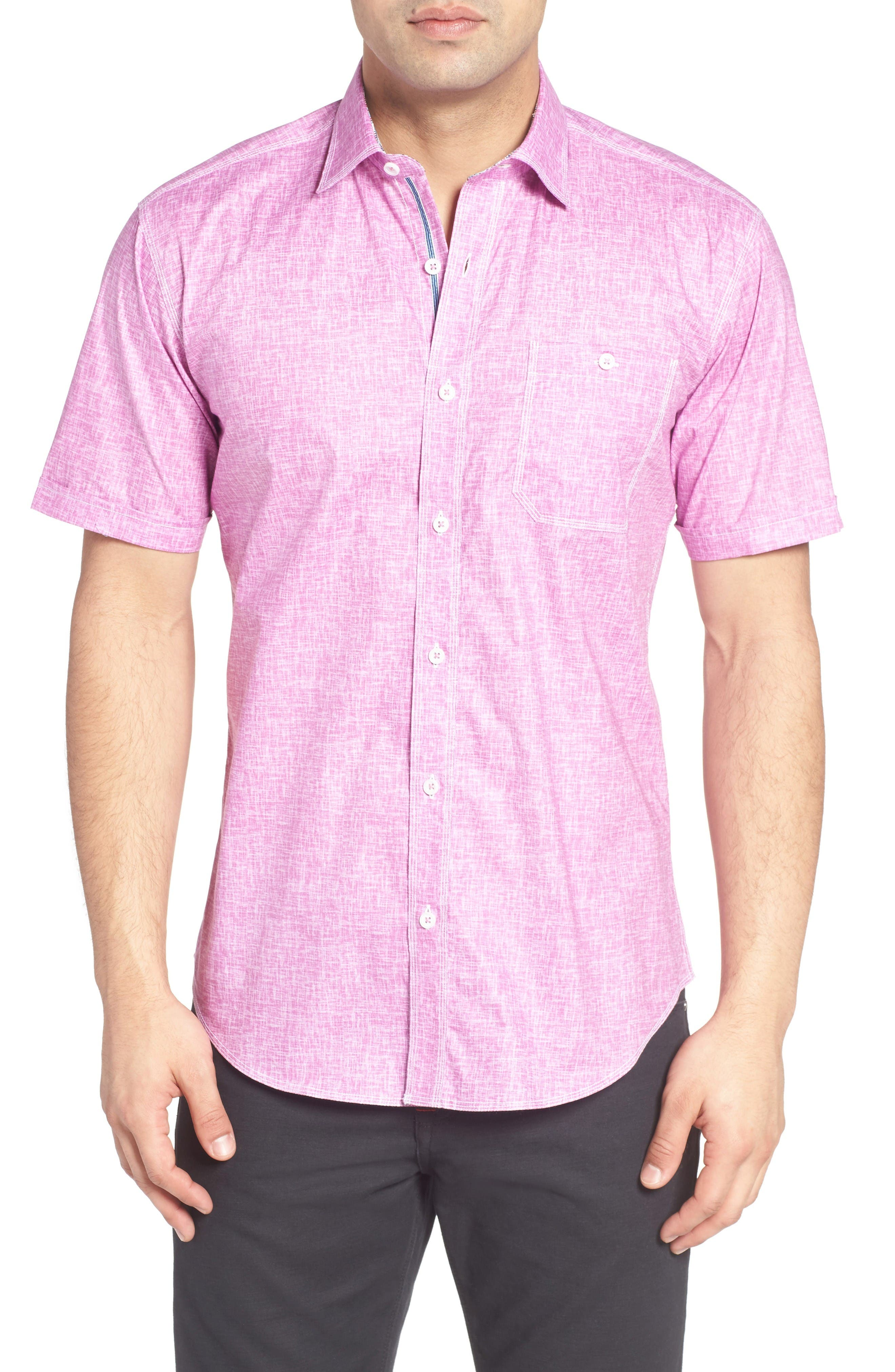 Shaped Fit Solid Sport Shirt,                         Main,                         color, Orchid
