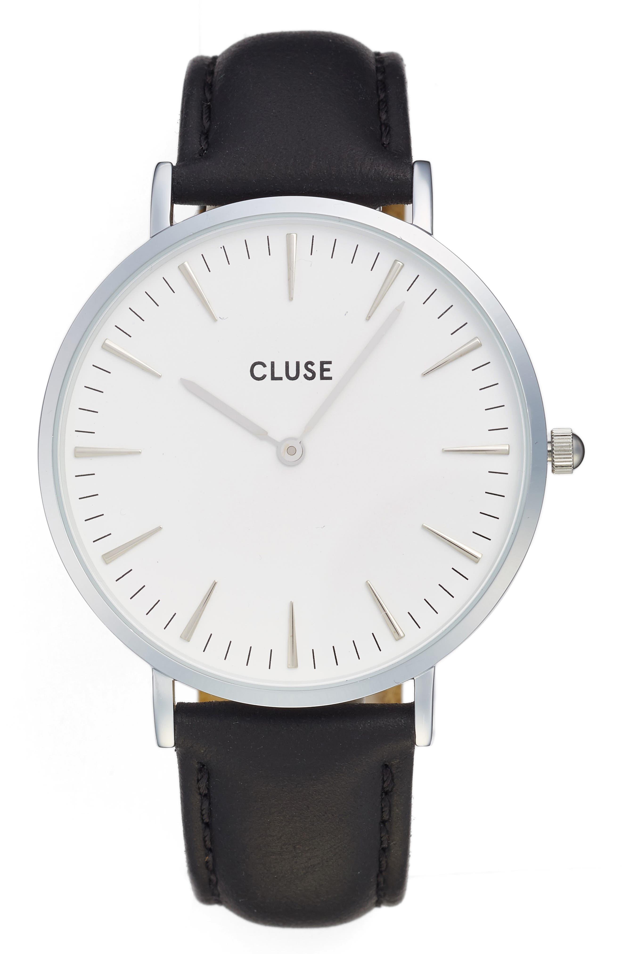 Alternate Image 1 Selected - CLUSE La Bohème Leather Strap Watch, 38mm