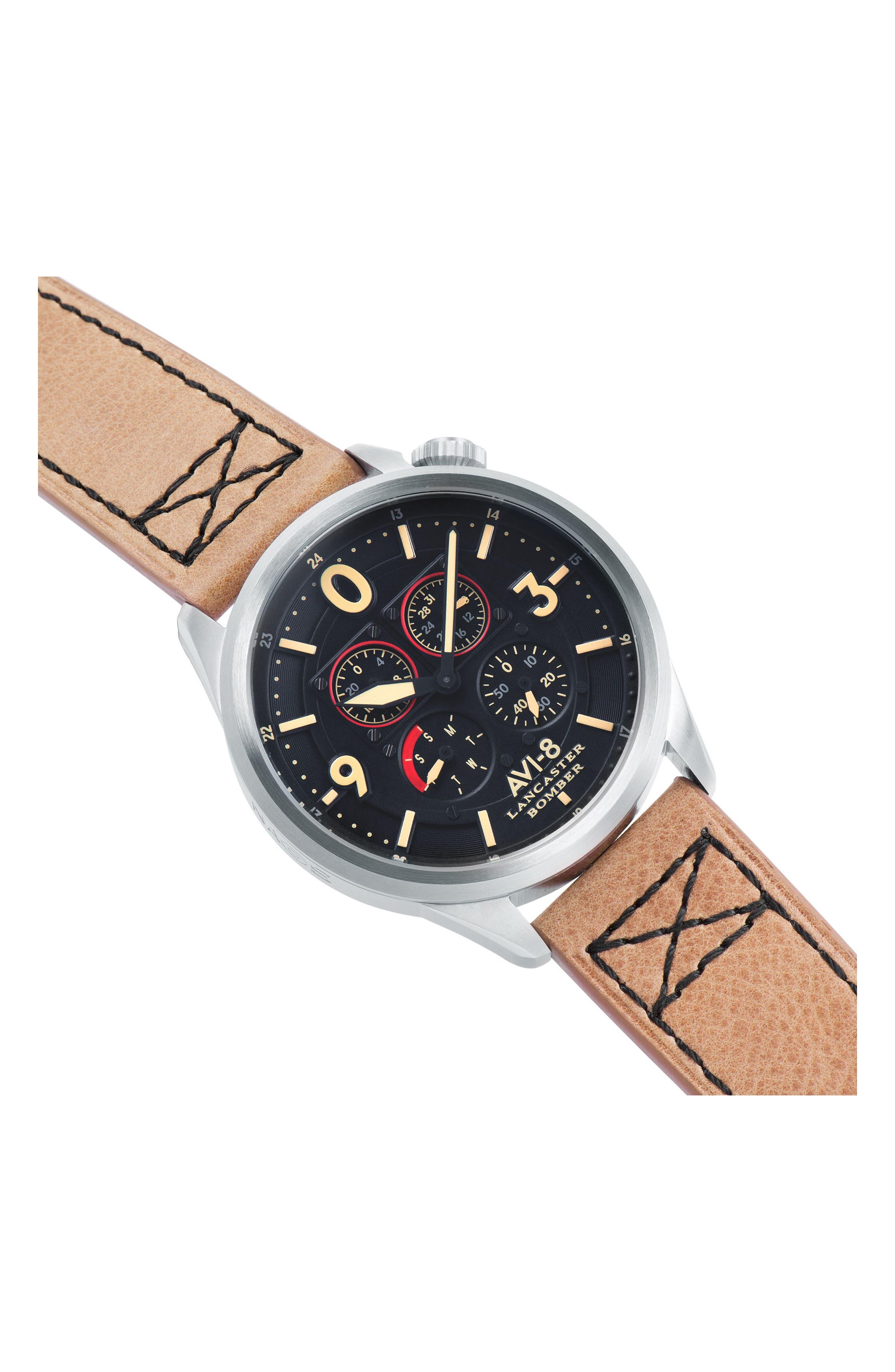 Alternate Image 5  - AVI-8 Lancaster Bomber Multifunction Leather Strap Watch, 44mm