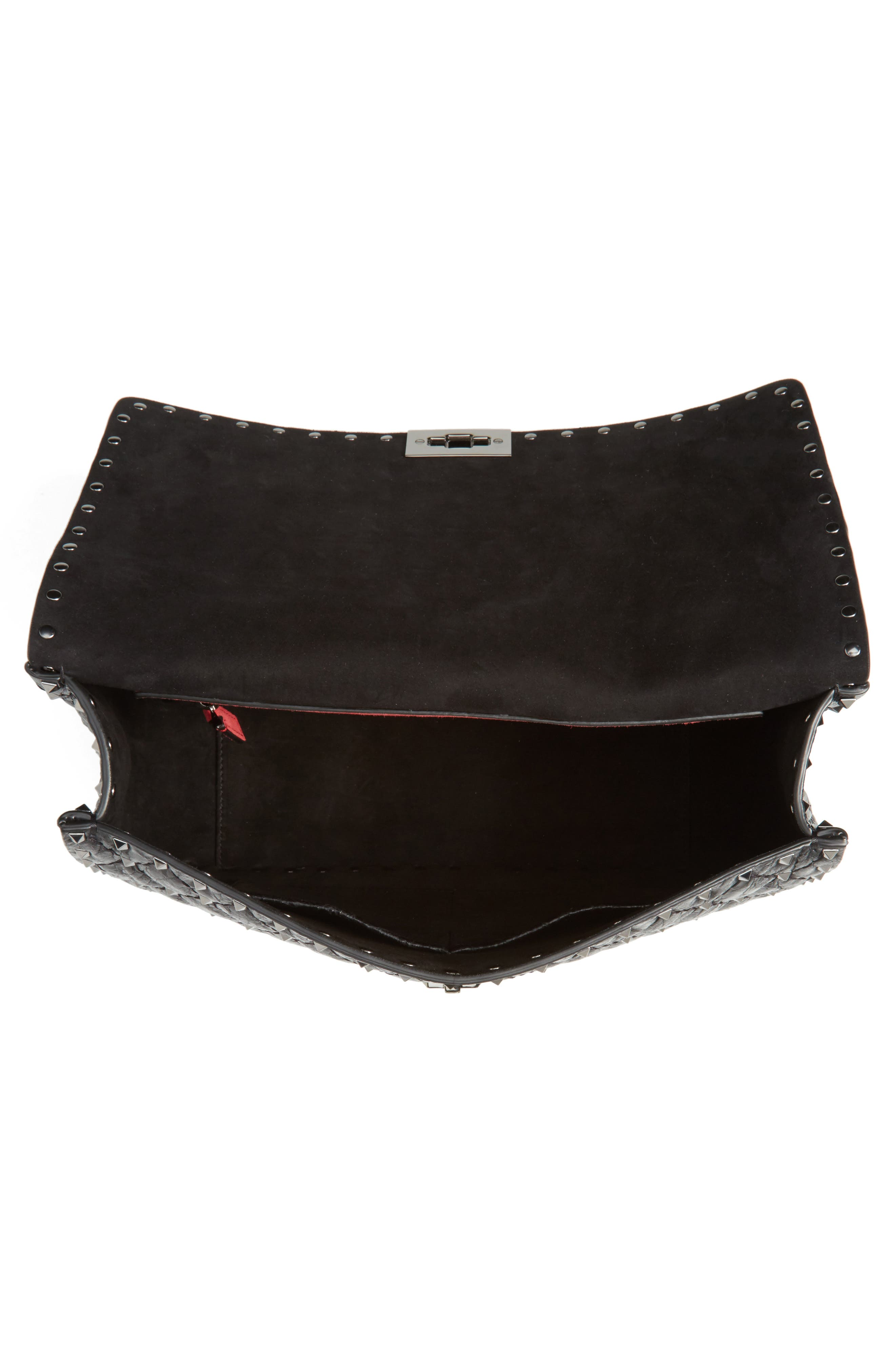 Rockstud Spike Large Shoulder Bag,                             Alternate thumbnail 4, color,                             Black