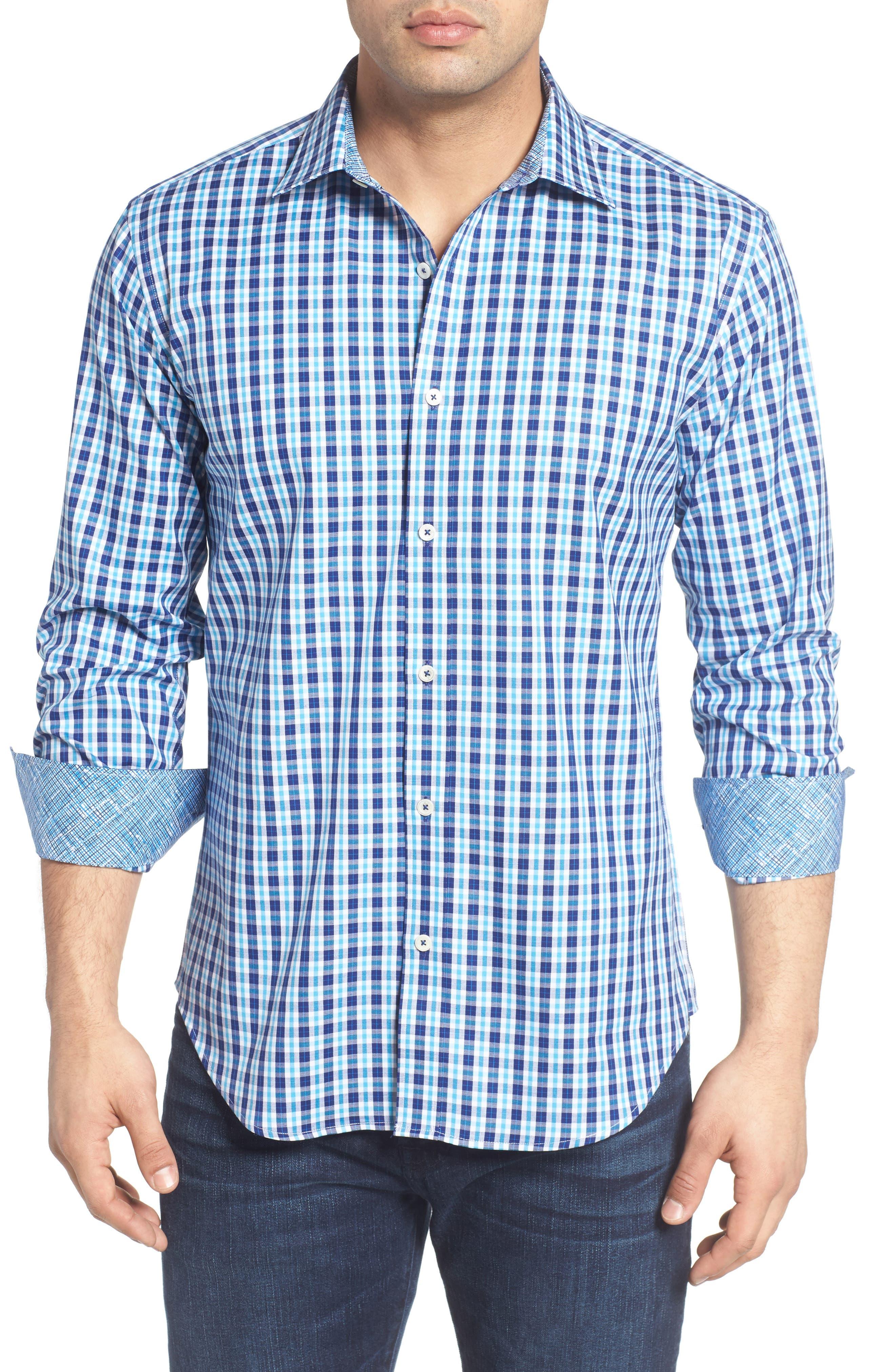 Shaped Fit Plaid Sport Shirt,                         Main,                         color, Classic Blue