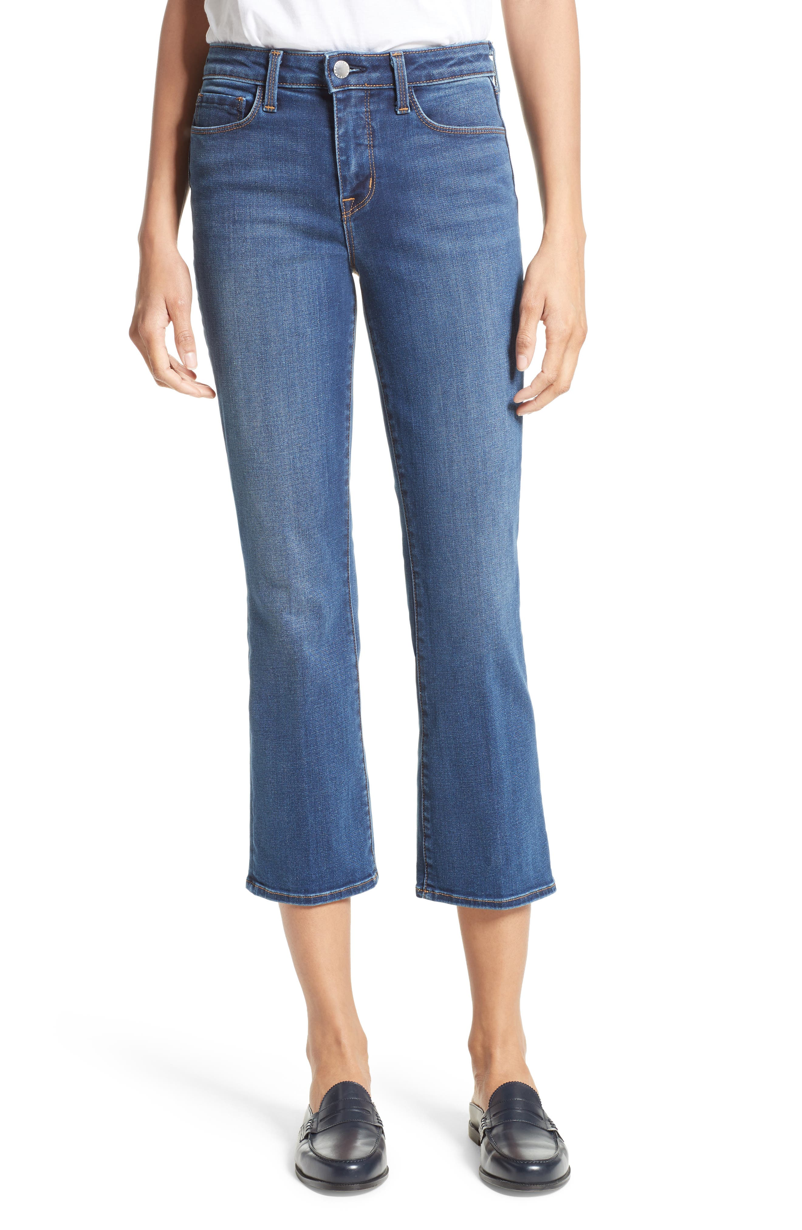 Alternate Image 1 Selected - L'AGENCE Crop Baby Flare Jeans (Azul)