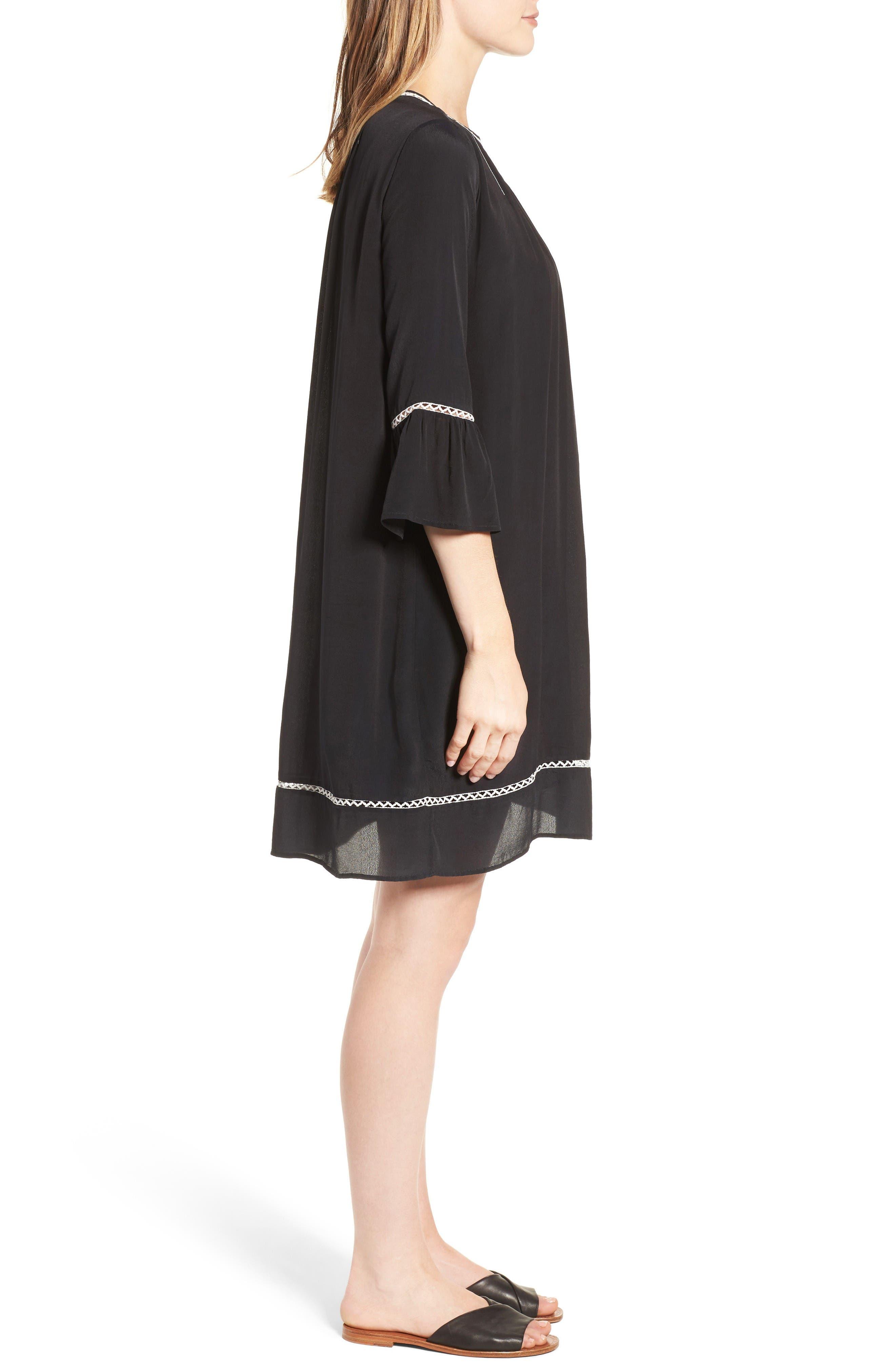 Pintuck Pleat Lantern Sleeve Babydoll Dress,                             Alternate thumbnail 3, color,                             Vintage Black