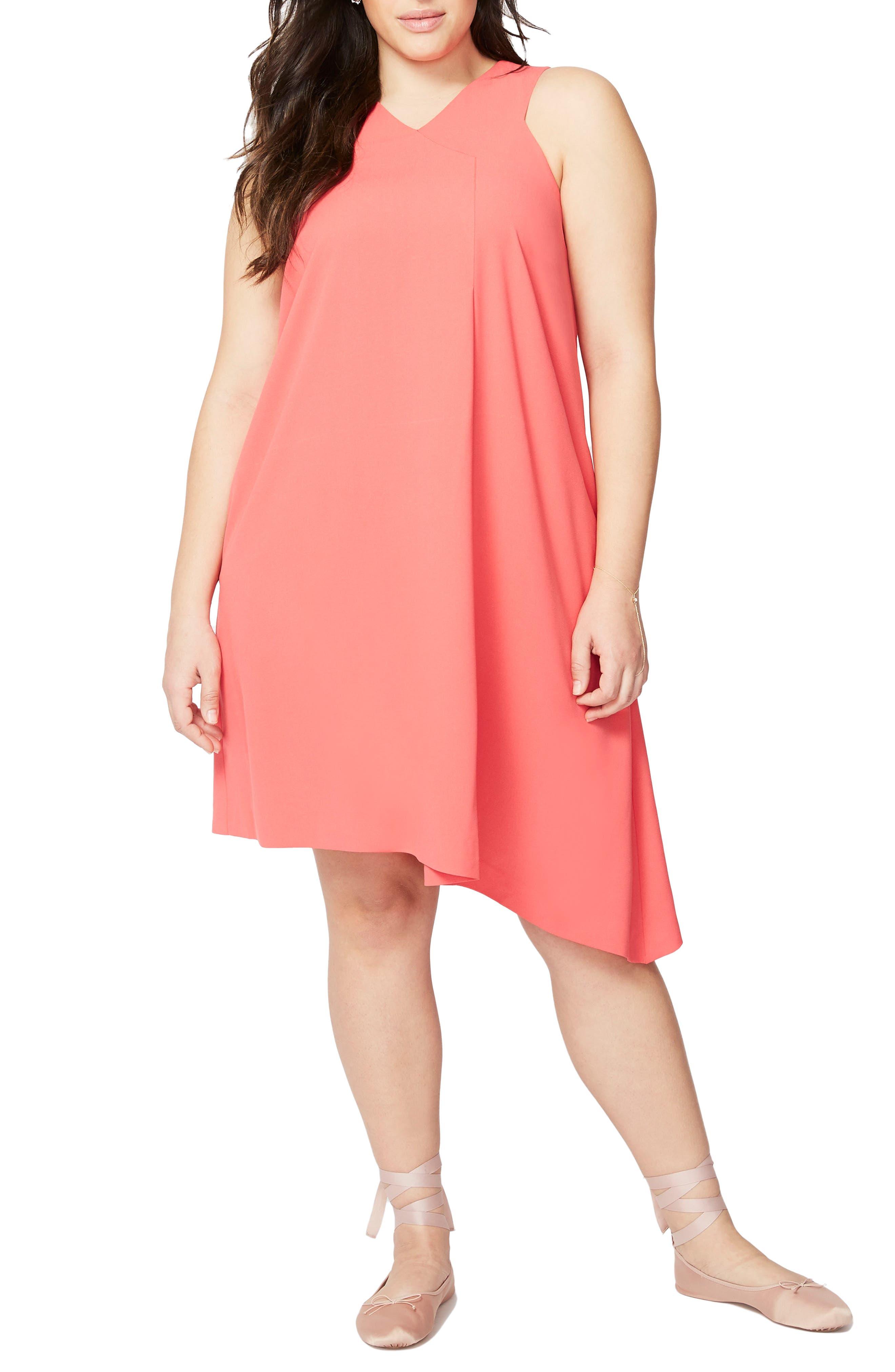 Pleat Front Shift Dress,                         Main,                         color, Watermelon
