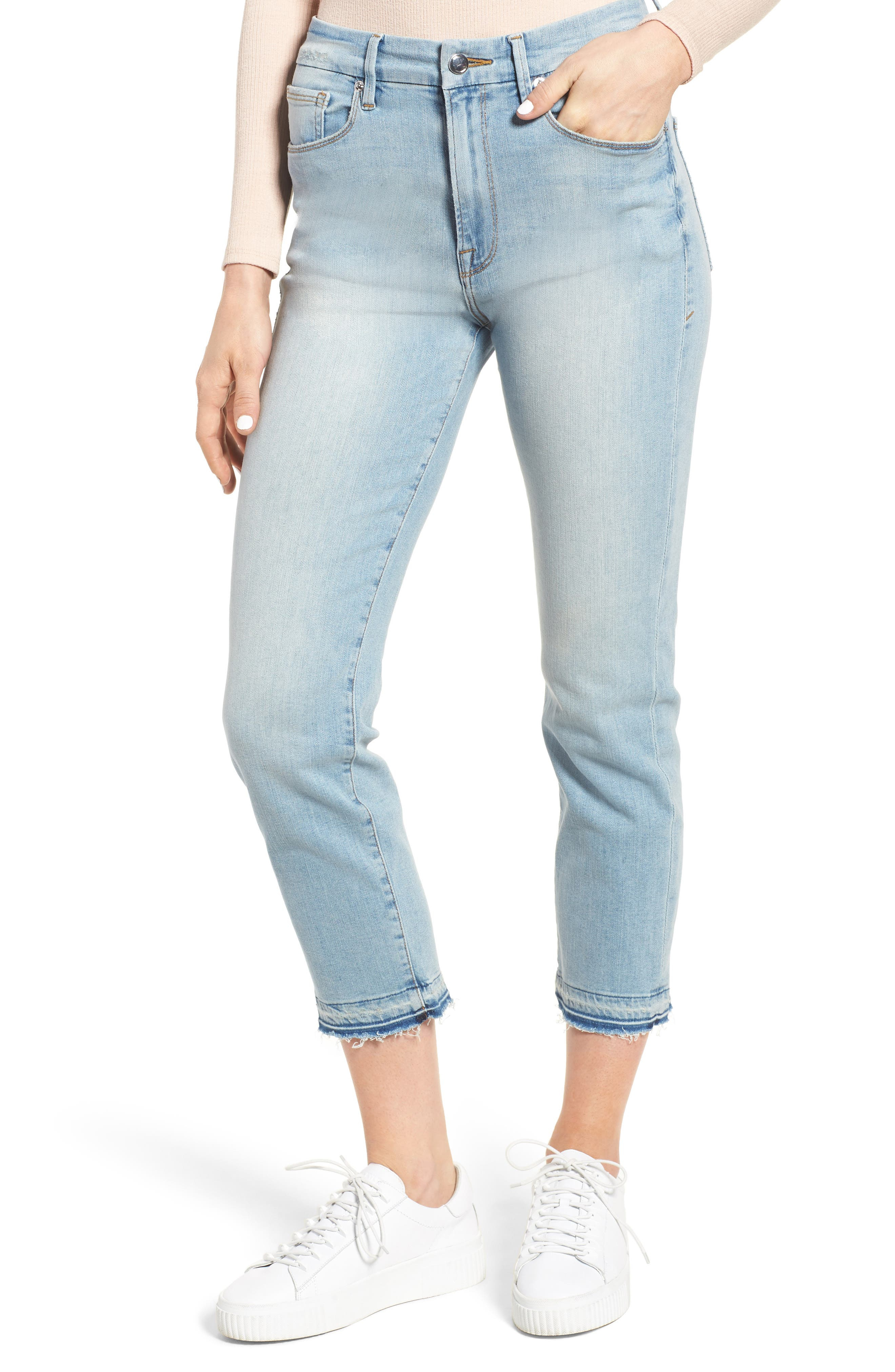 Main Image - Good American Good Waist High Rise Skinny Jeans (Blue 016) (Extended Sizes)